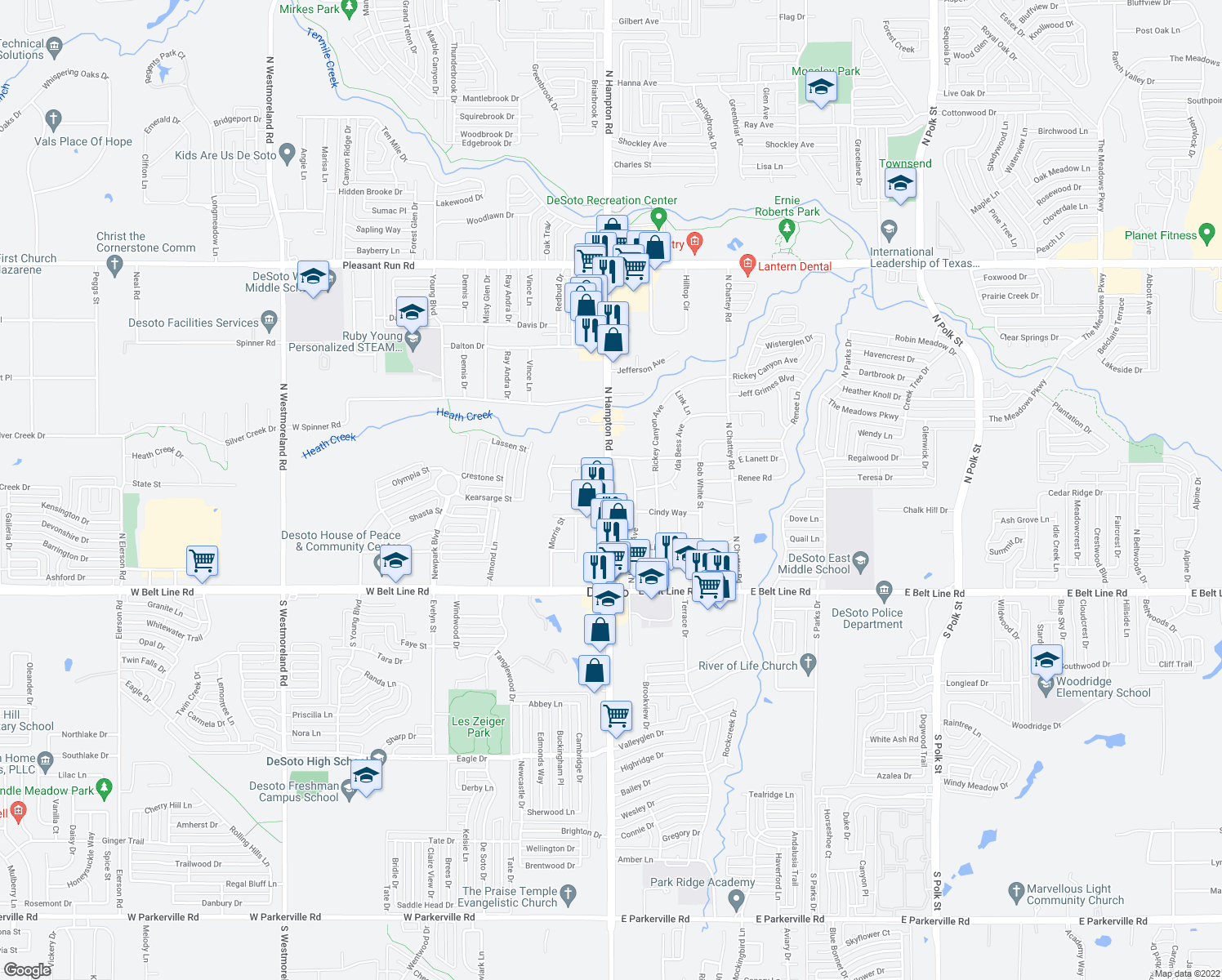 map of restaurants, bars, coffee shops, grocery stores, and more near 300 North Hampton Road in DeSoto