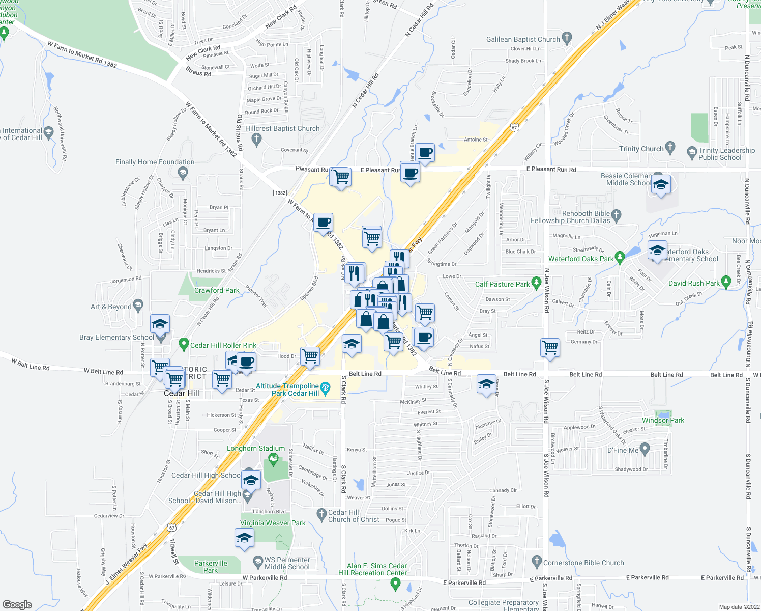 map of restaurants, bars, coffee shops, grocery stores, and more near 416 N Hwy 67 in Cedar Hill