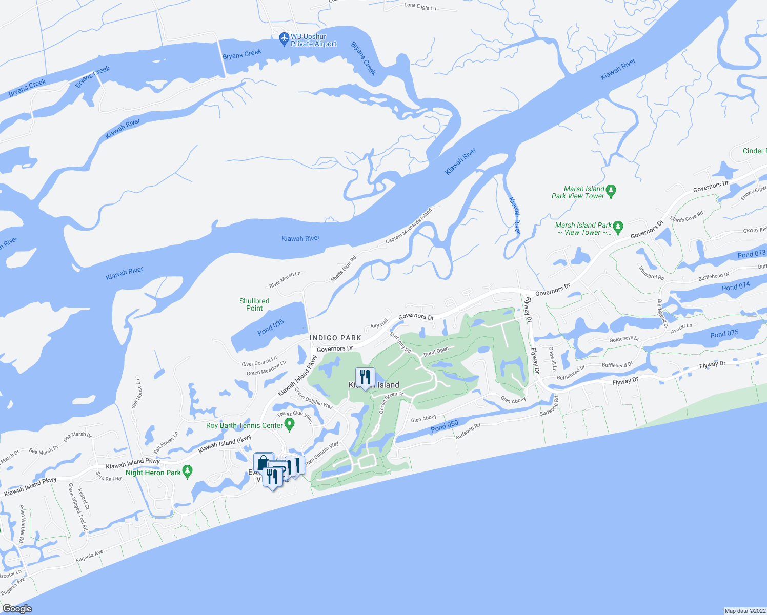 map of restaurants, bars, coffee shops, grocery stores, and more near 21 Airy Hall in Kiawah Island