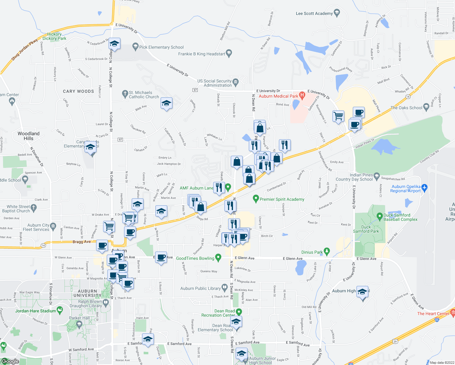 map of restaurants, bars, coffee shops, grocery stores, and more near 555 North Dean Road in Auburn