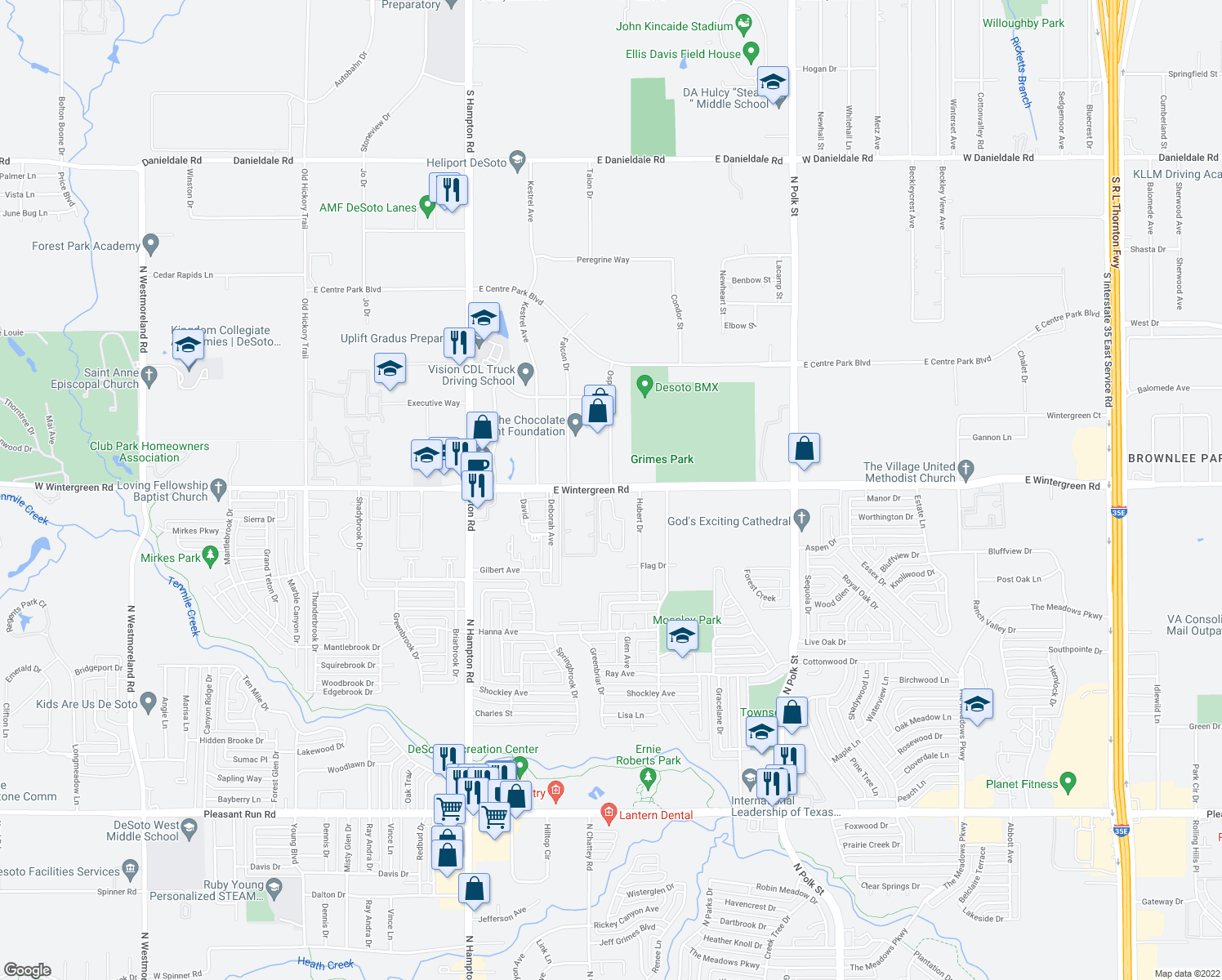 map of restaurants, bars, coffee shops, grocery stores, and more near 1500 Osprey Drive in DeSoto