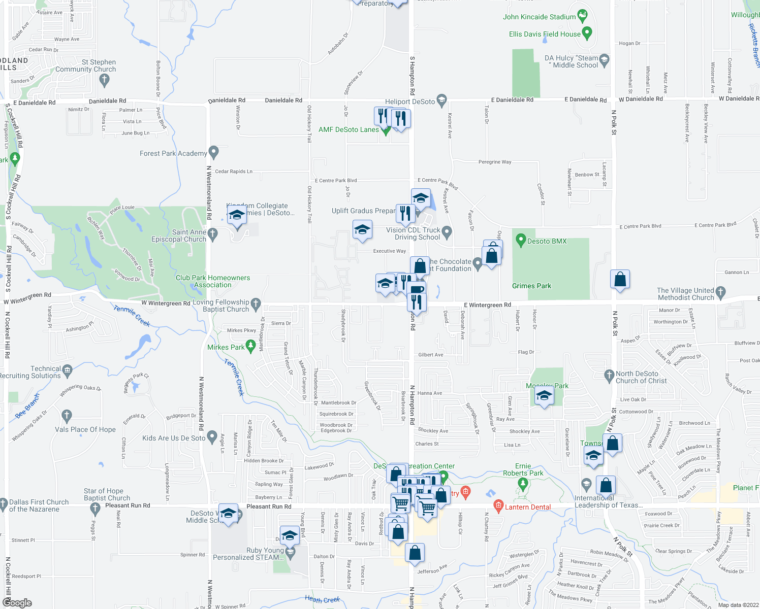map of restaurants, bars, coffee shops, grocery stores, and more near 320 West Wintergreen Road in DeSoto