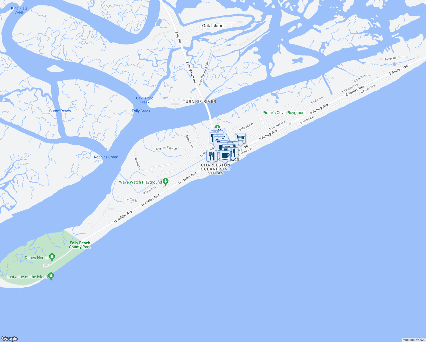map of restaurants, bars, coffee shops, grocery stores, and more near 201 West Arctic Avenue in Folly Beach