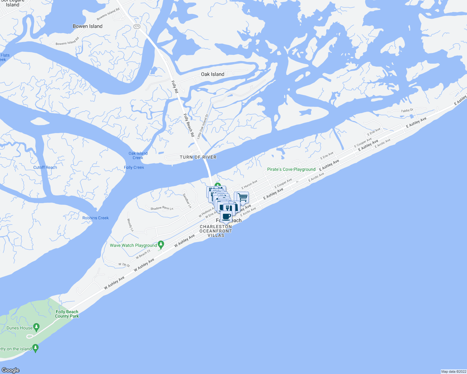 map of restaurants, bars, coffee shops, grocery stores, and more near 202 East Indian Avenue in Folly Beach