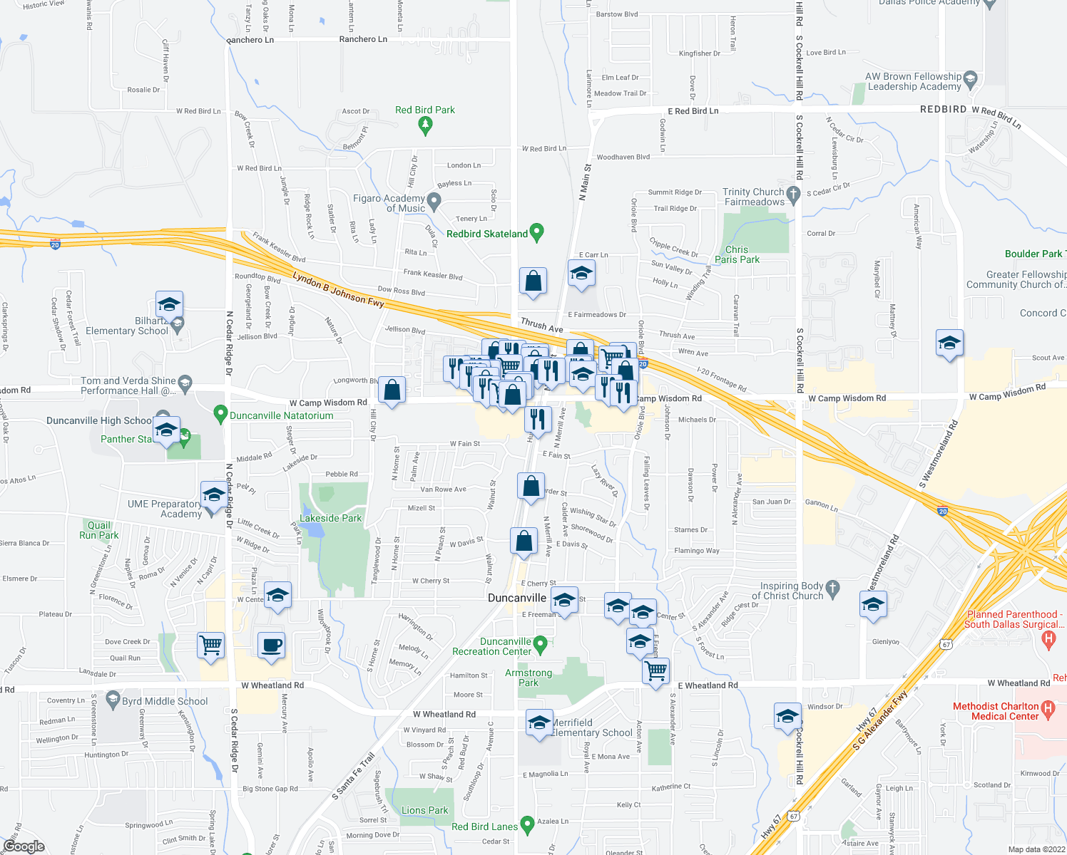 map of restaurants, bars, coffee shops, grocery stores, and more near 715-799 Hustead Street in Duncanville