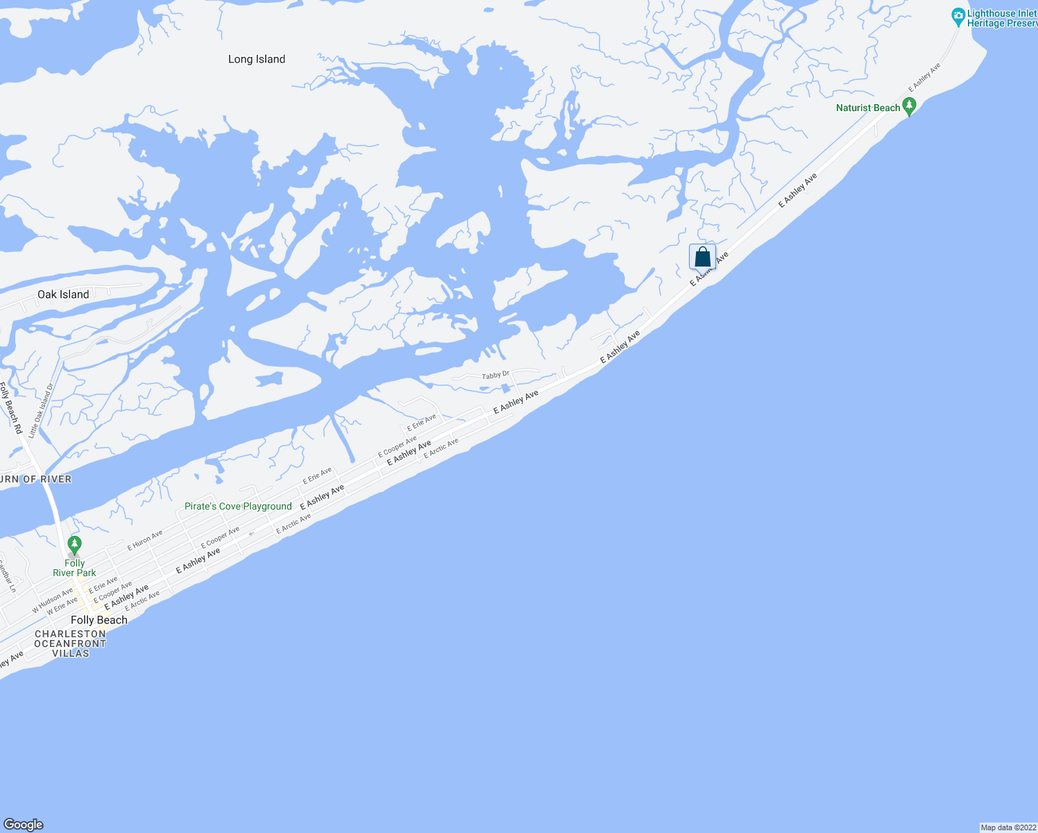 map of restaurants, bars, coffee shops, grocery stores, and more near 1215 East Arctic Avenue in Folly Beach