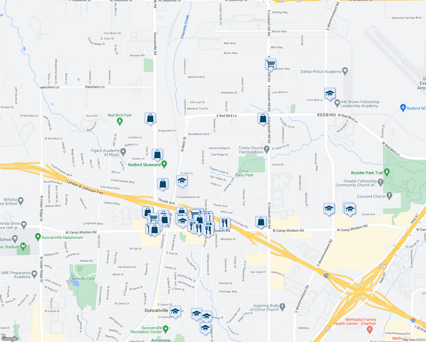 map of restaurants, bars, coffee shops, grocery stores, and more near 535 Cripple Creek Drive in Duncanville