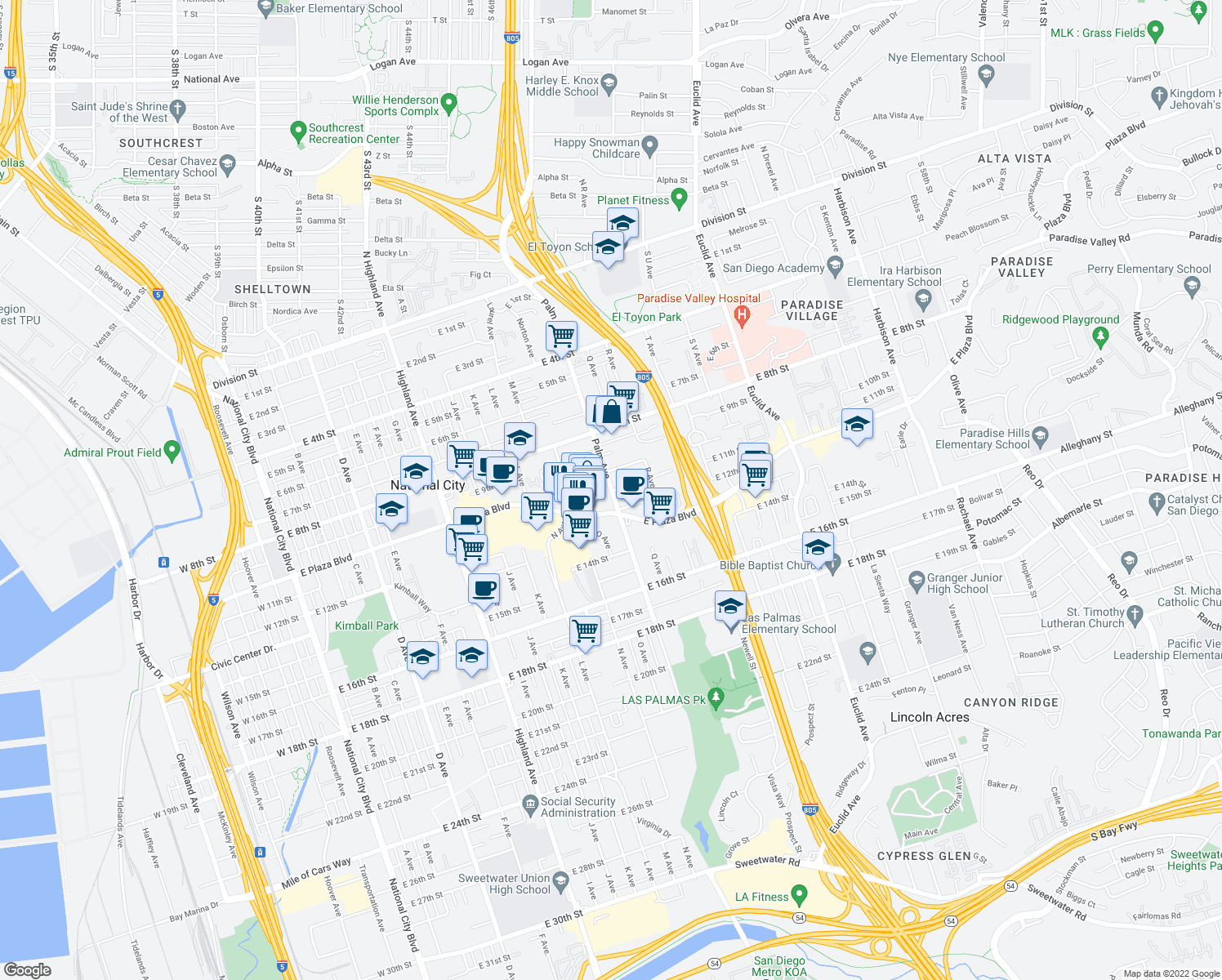 map of restaurants, bars, coffee shops, grocery stores, and more near 1535 East Plaza Boulevard in National City