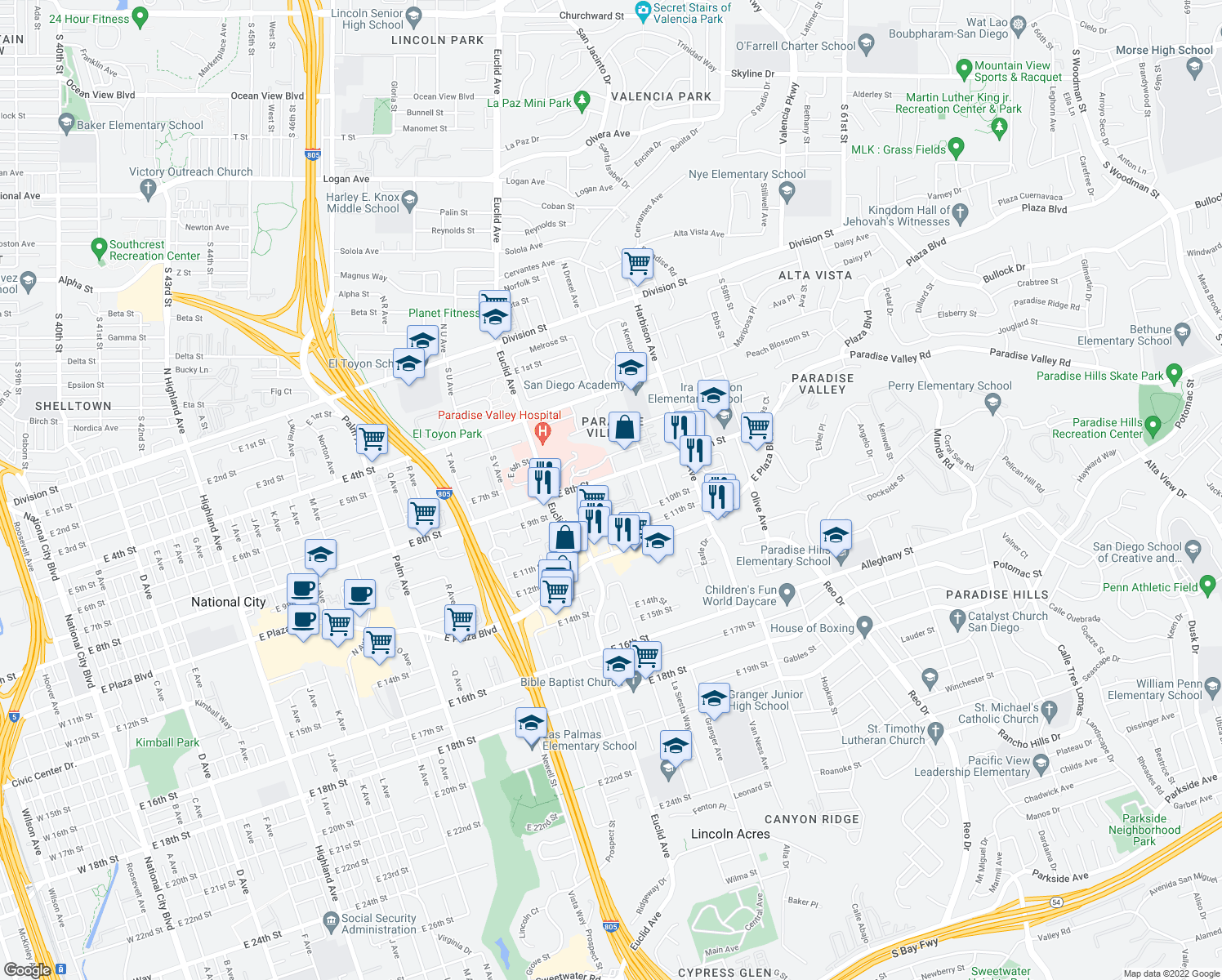 map of restaurants, bars, coffee shops, grocery stores, and more near 2630 East 8th Street in National City