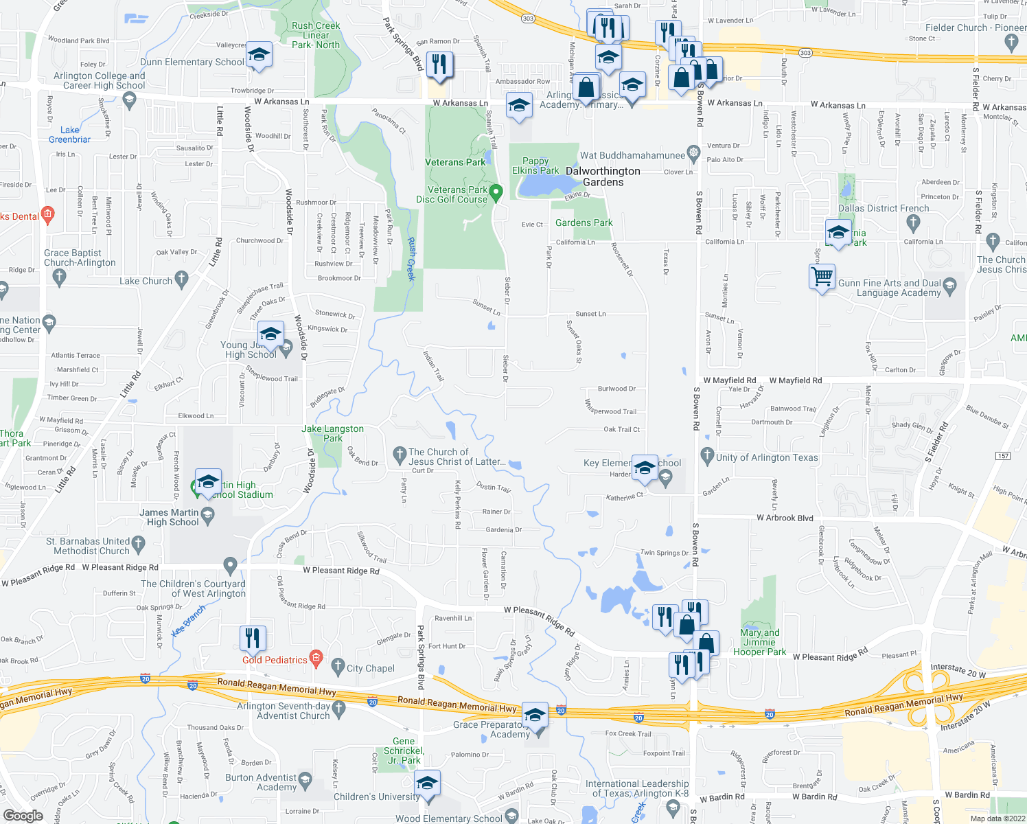 map of restaurants, bars, coffee shops, grocery stores, and more near 3629 Wooded Creek Circle in Arlington