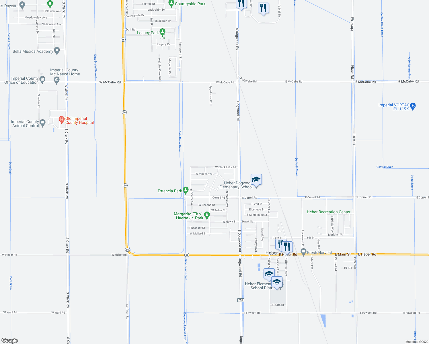 map of restaurants, bars, coffee shops, grocery stores, and more near 38 West Maple Avenue in Heber