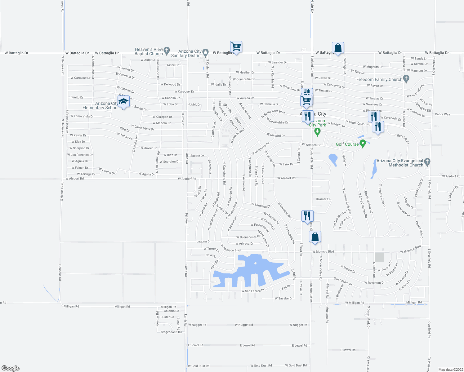 map of restaurants, bars, coffee shops, grocery stores, and more near 14575 South Redondo Road in Arizona City