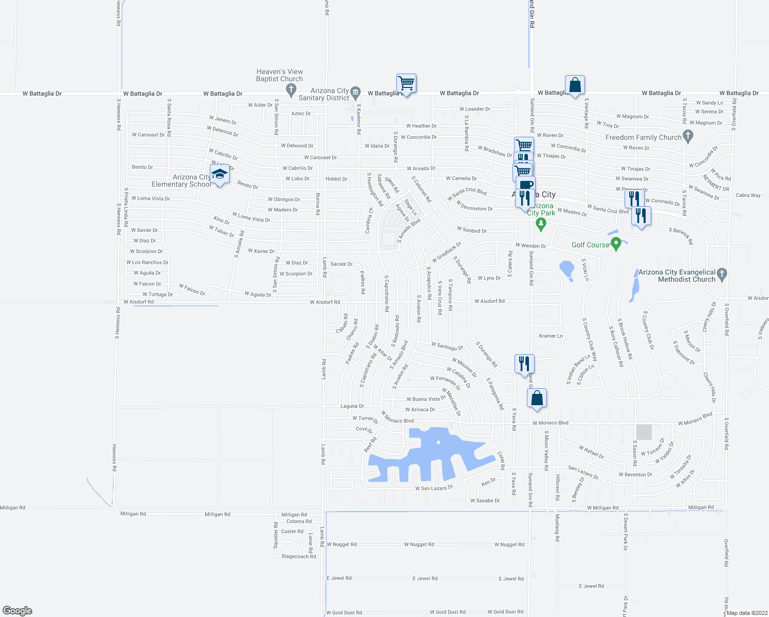 map of restaurants, bars, coffee shops, grocery stores, and more near 14534 South Capistrano Road in Arizona City