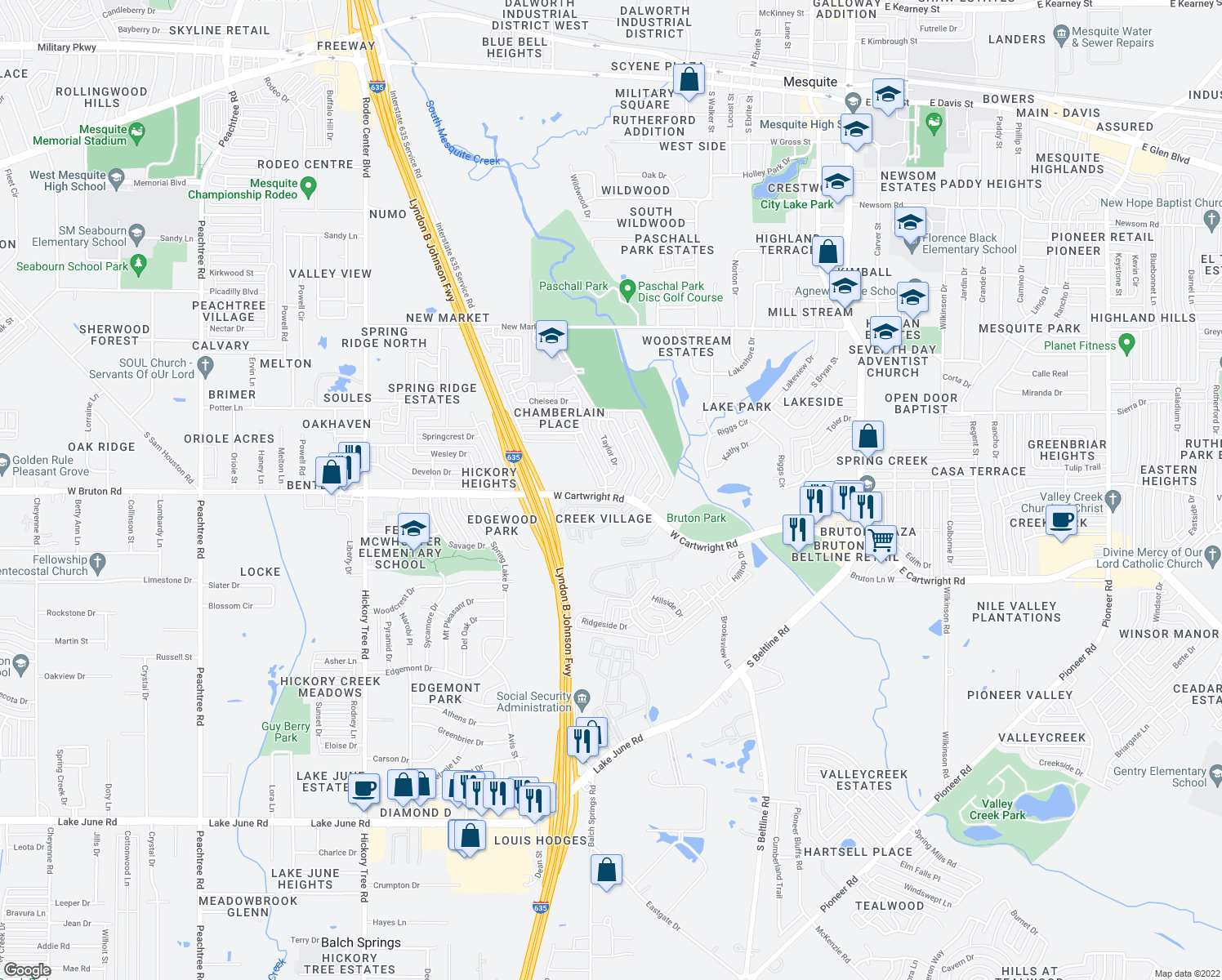 map of restaurants, bars, coffee shops, grocery stores, and more near 866-878 West Cartwright Road in Mesquite
