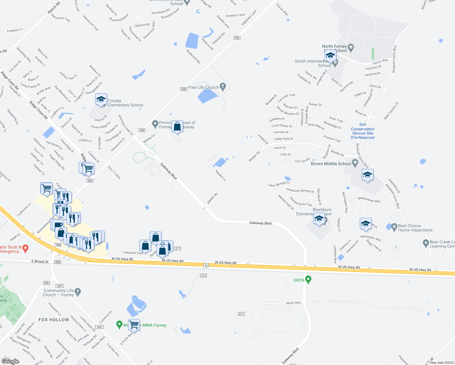 map of restaurants, bars, coffee shops, grocery stores, and more near 10800-10900 Reeder Lane in Forney
