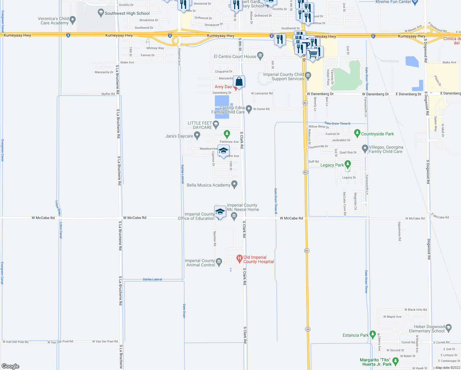 map of restaurants, bars, coffee shops, grocery stores, and more near 1003 Palmview Avenue in El Centro