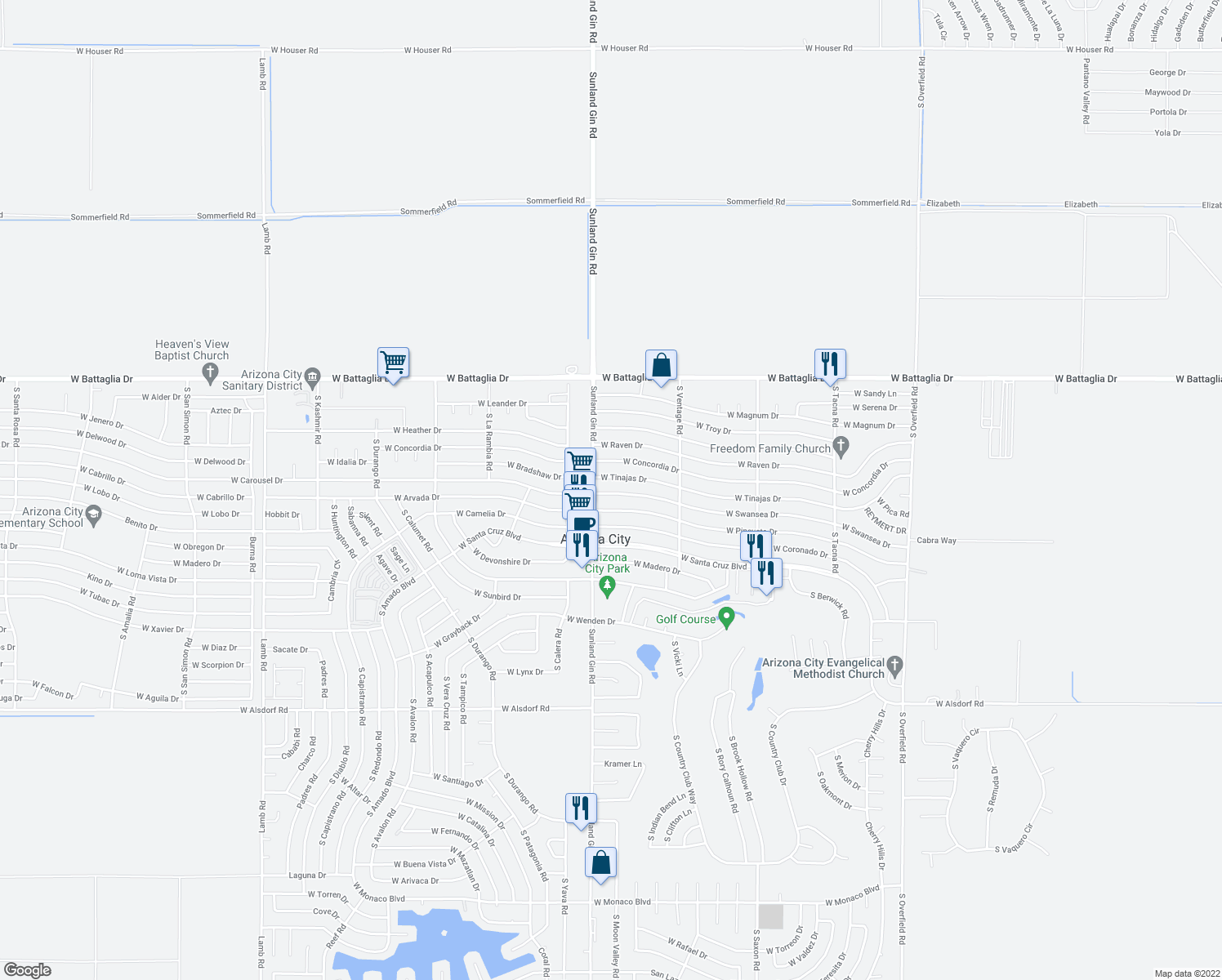 map of restaurants, bars, coffee shops, grocery stores, and more near 9530 West Swansea Drive in Arizona City