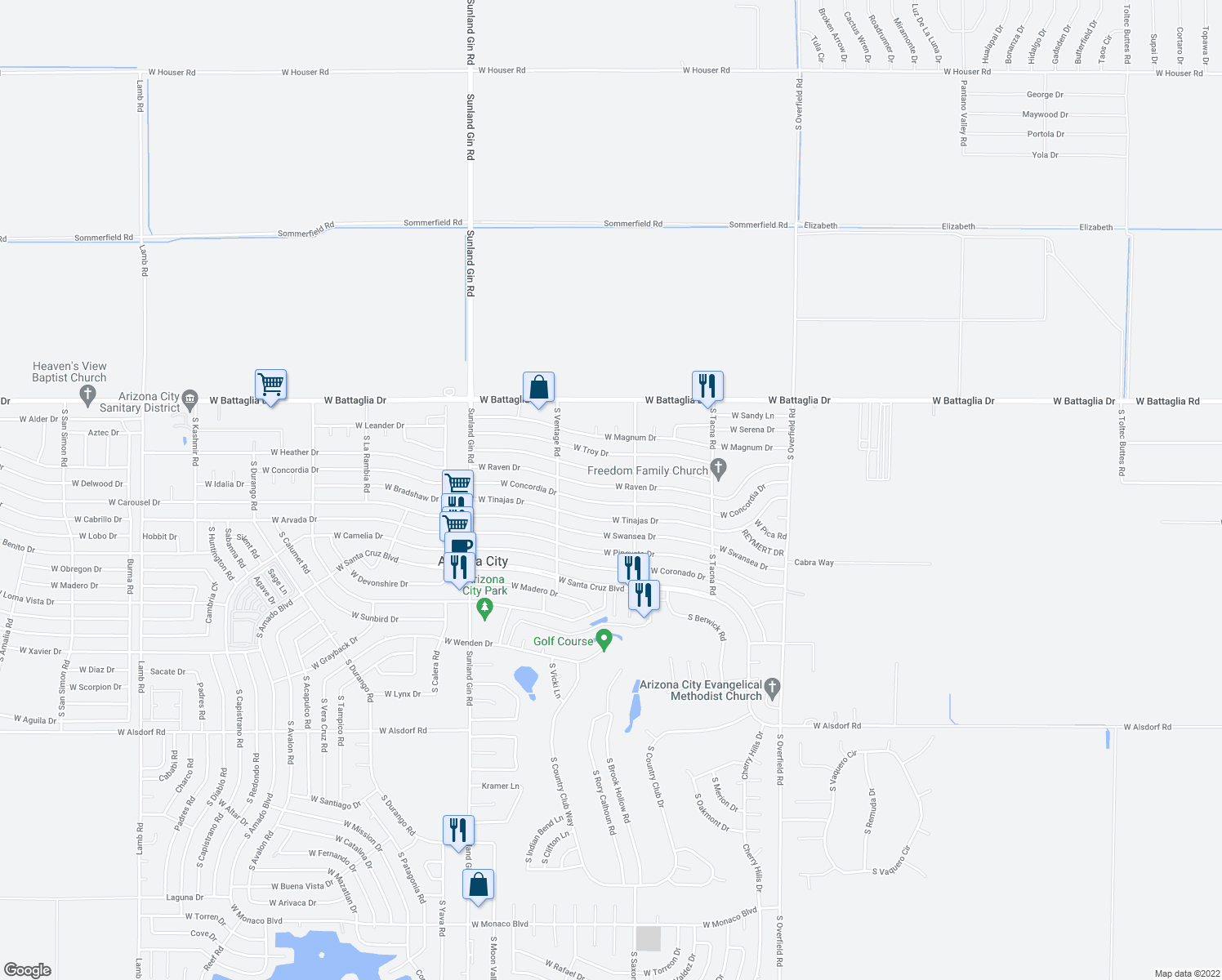 map of restaurants, bars, coffee shops, grocery stores, and more near 8921 West Raven Drive in Arizona City