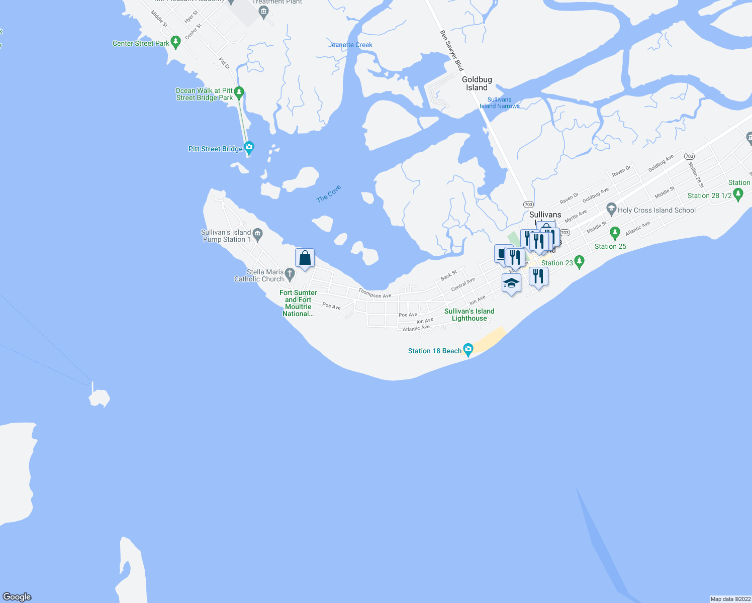 map of restaurants, bars, coffee shops, grocery stores, and more near 1607 Middle Street in Sullivan's Island