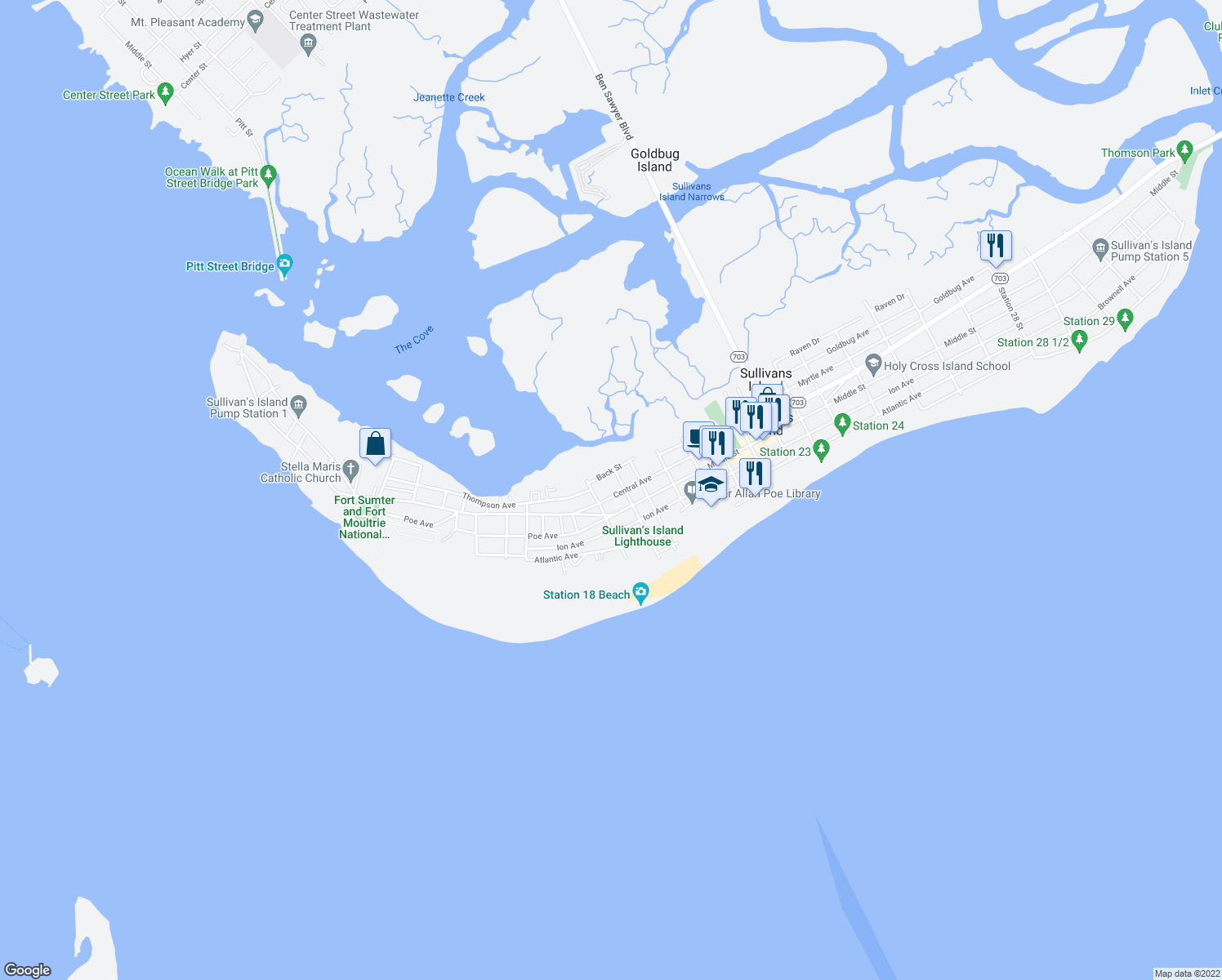 map of restaurants, bars, coffee shops, grocery stores, and more near 1814 Central Avenue in Sullivan's Island
