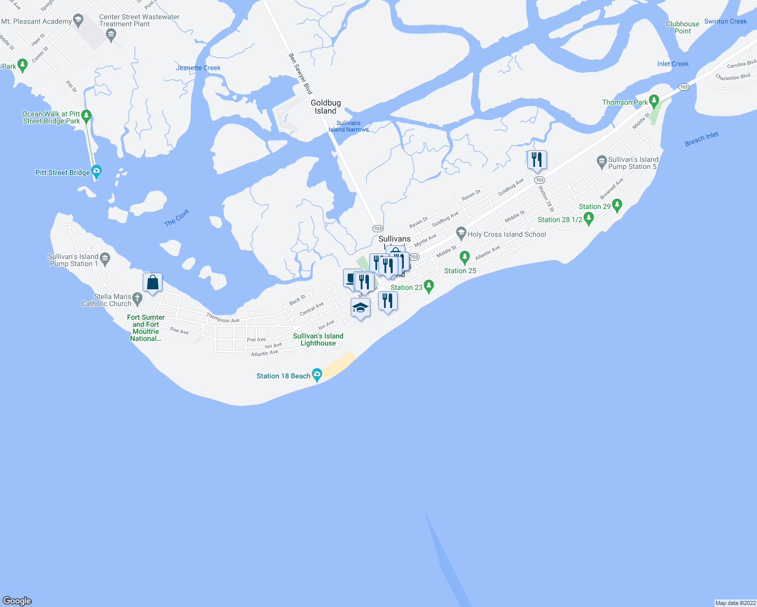 map of restaurants, bars, coffee shops, grocery stores, and more near 2102 Atlantic Avenue in Sullivan's Island
