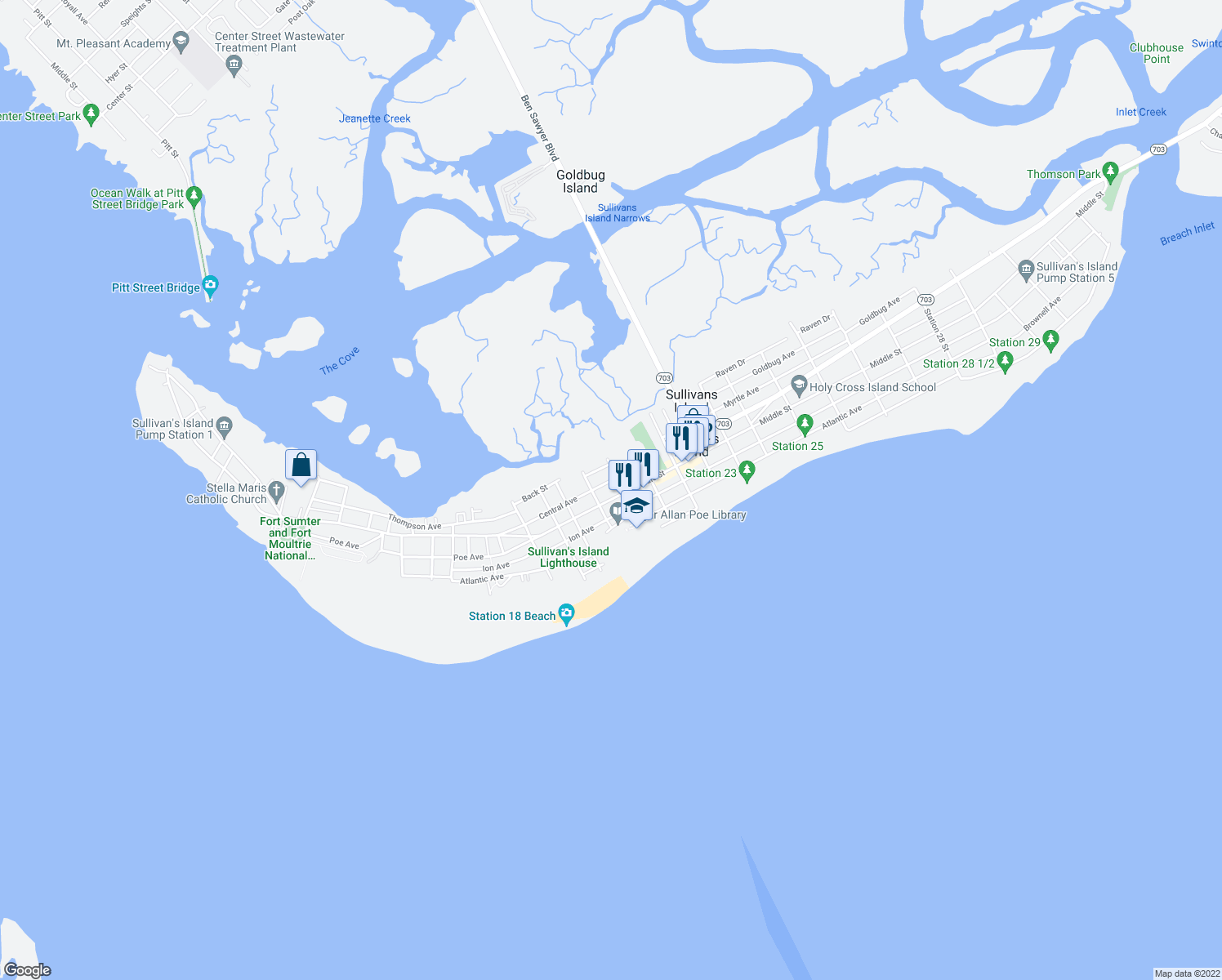 map of restaurants, bars, coffee shops, grocery stores, and more near 2014 Middle Street in Sullivan's Island