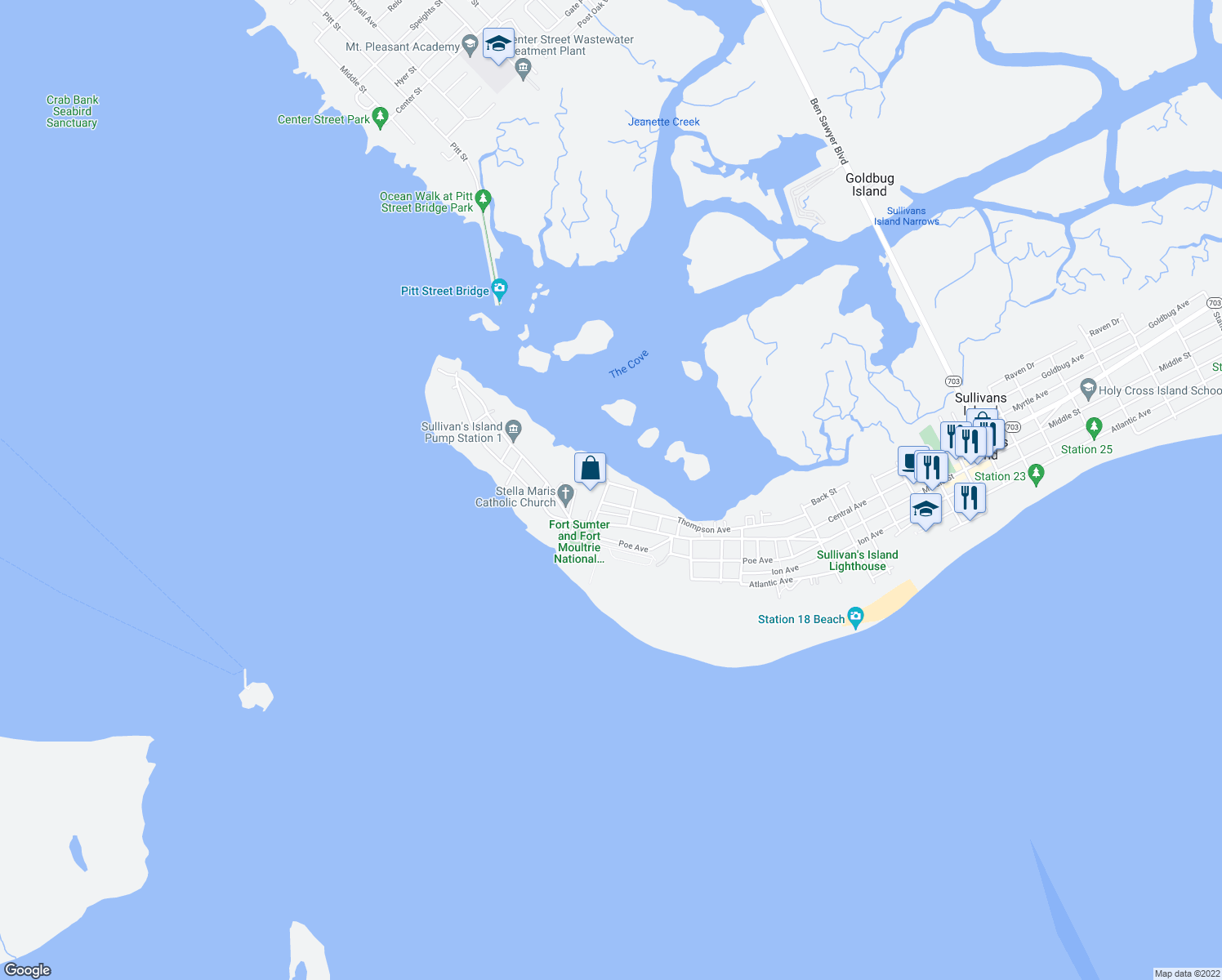map of restaurants, bars, coffee shops, grocery stores, and more near 1301 Cove Avenue in Sullivan's Island
