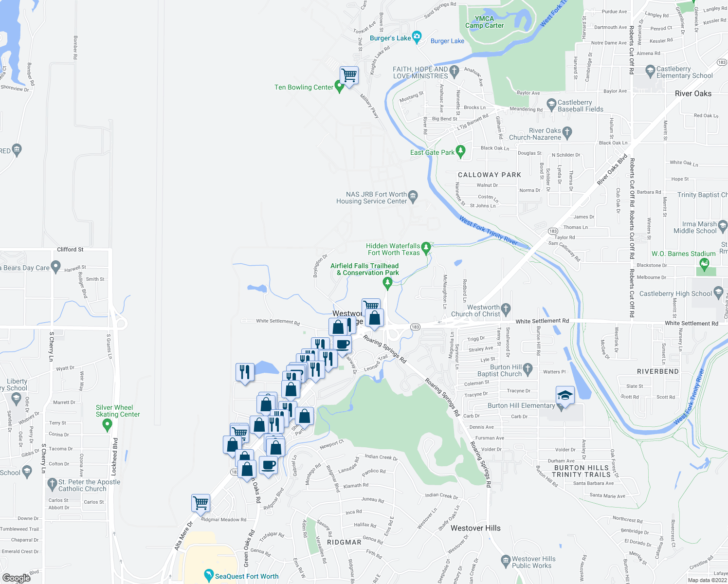 map of restaurants, bars, coffee shops, grocery stores, and more near 101 North Roaring Springs Road in Fort Worth