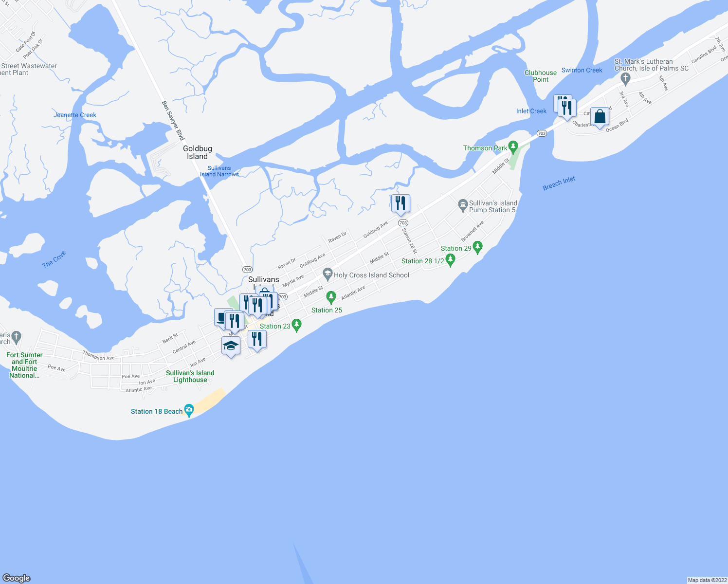 map of restaurants, bars, coffee shops, grocery stores, and more near 2614 Bayonne Street in Sullivan's Island