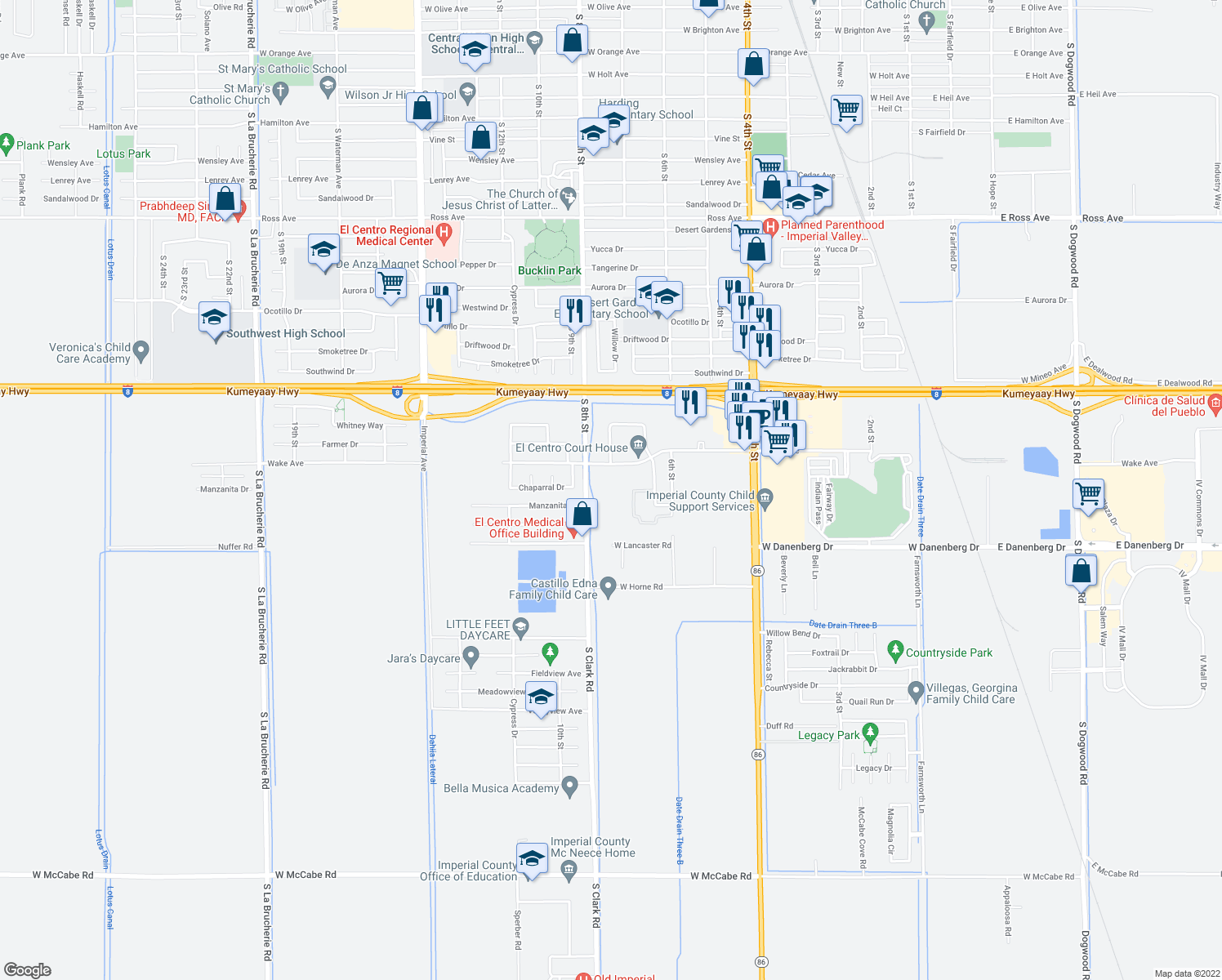 map of restaurants, bars, coffee shops, grocery stores, and more near 1650 South Clark Road in El Centro