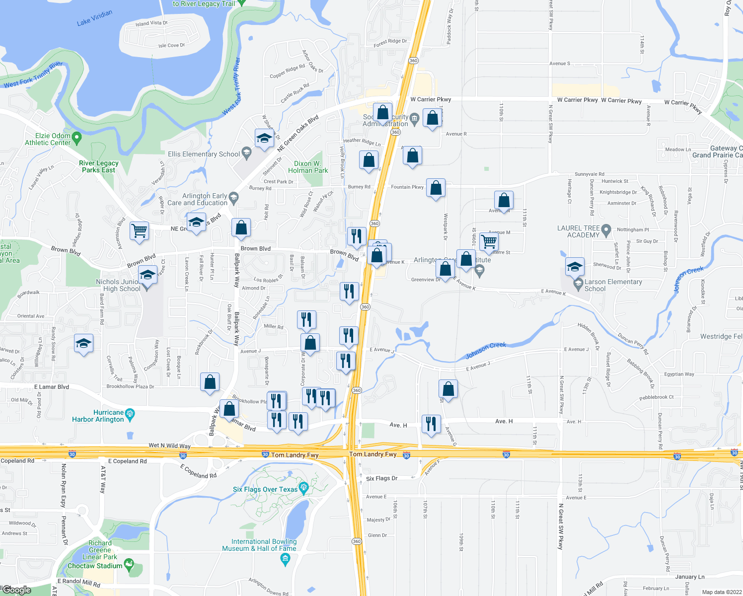 map of restaurants, bars, coffee shops, grocery stores, and more near 1450 N State Highway 360 in Grand Prairie