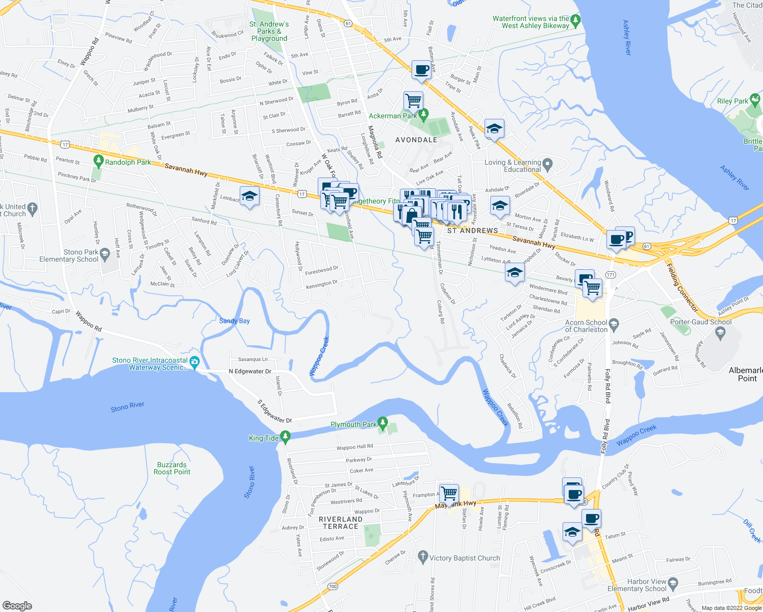 map of restaurants, bars, coffee shops, grocery stores, and more near 2 Farmfield Avenue in Charleston