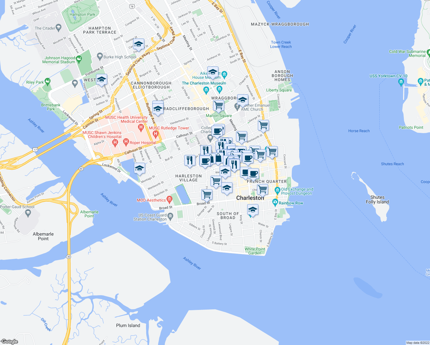 map of restaurants, bars, coffee shops, grocery stores, and more near Logan St & West St in Charleston