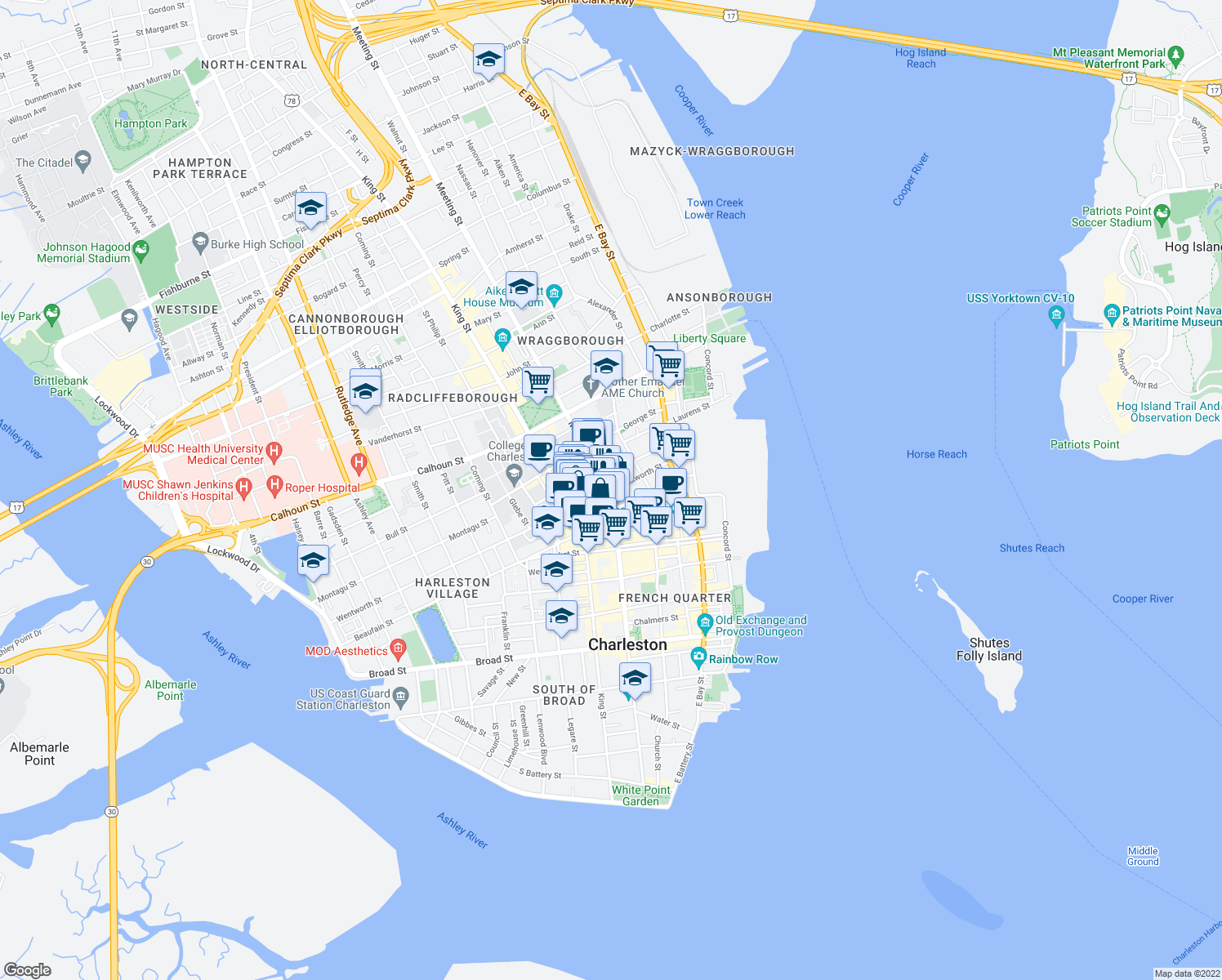 map of restaurants, bars, coffee shops, grocery stores, and more near Meeting St & Wentworth St in Charleston