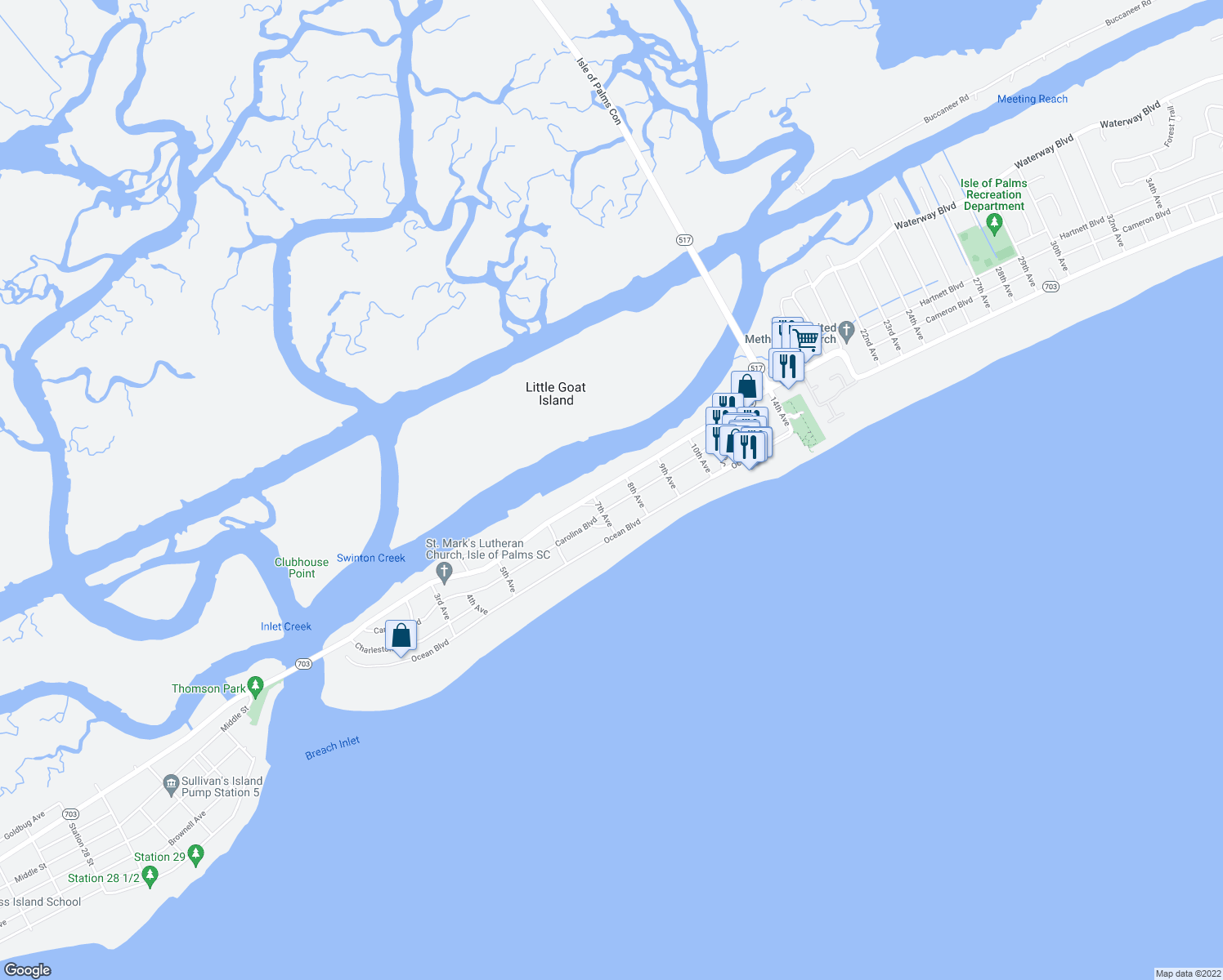 map of restaurants, bars, coffee shops, grocery stores, and more near 708 Palm Boulevard in Isle of Palms