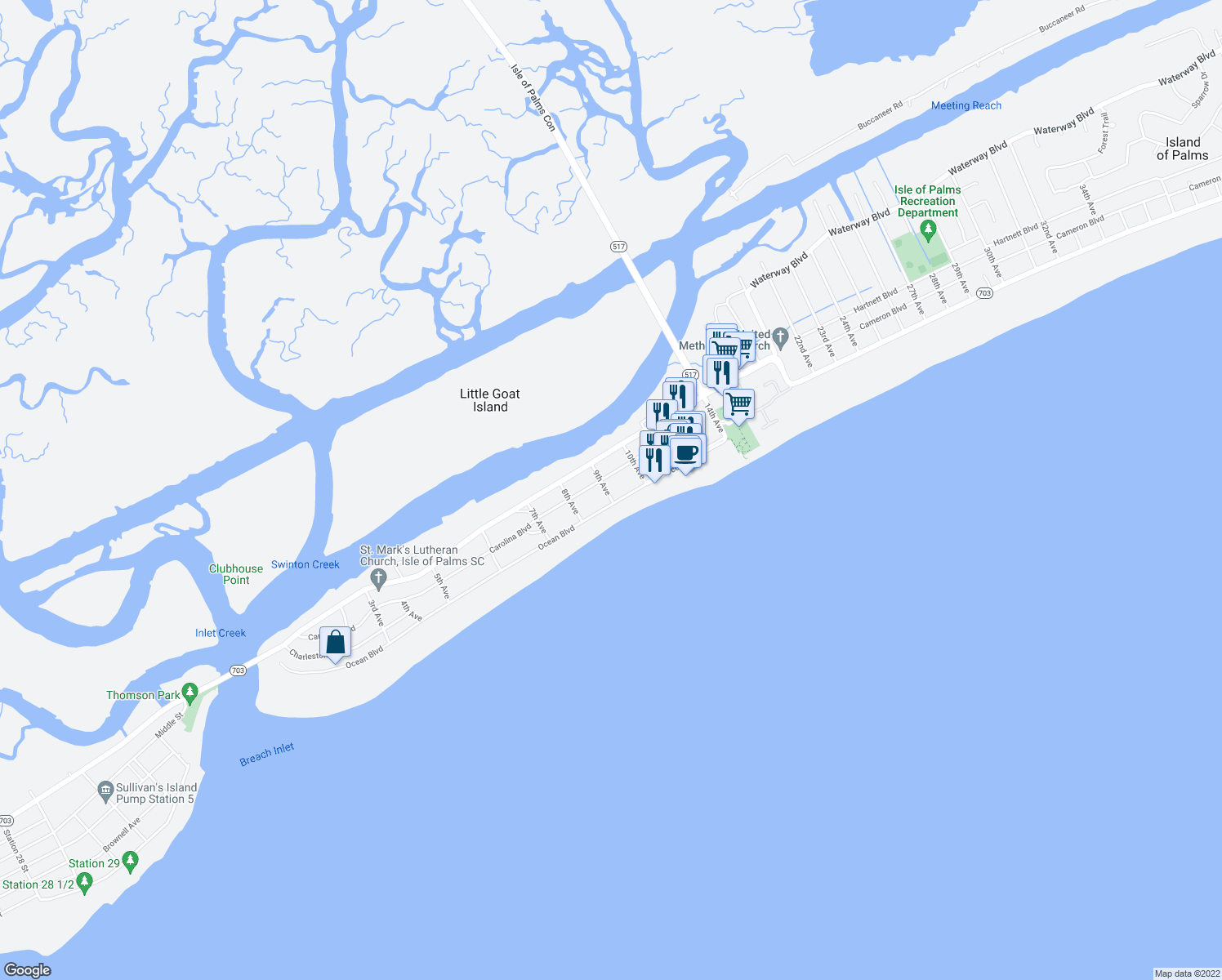 map of restaurants, bars, coffee shops, grocery stores, and more near 2 9th Avenue in Isle of Palms
