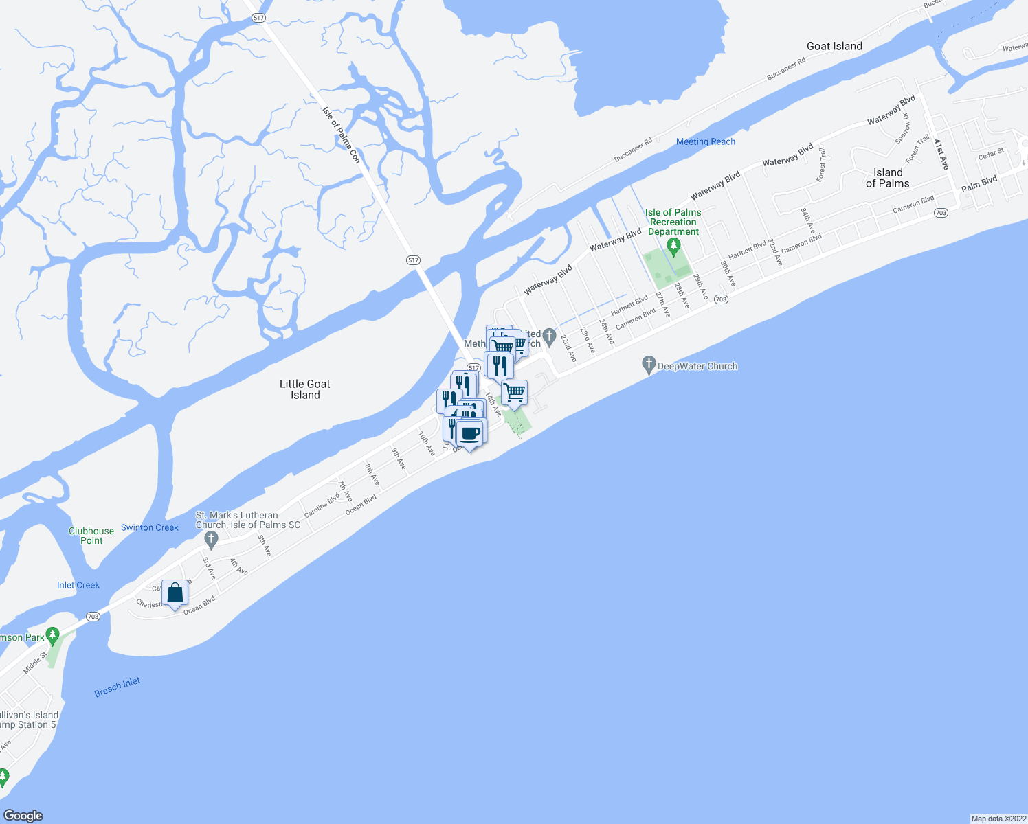map of restaurants, bars, coffee shops, grocery stores, and more near 1 14th Ave in Isle of Palms