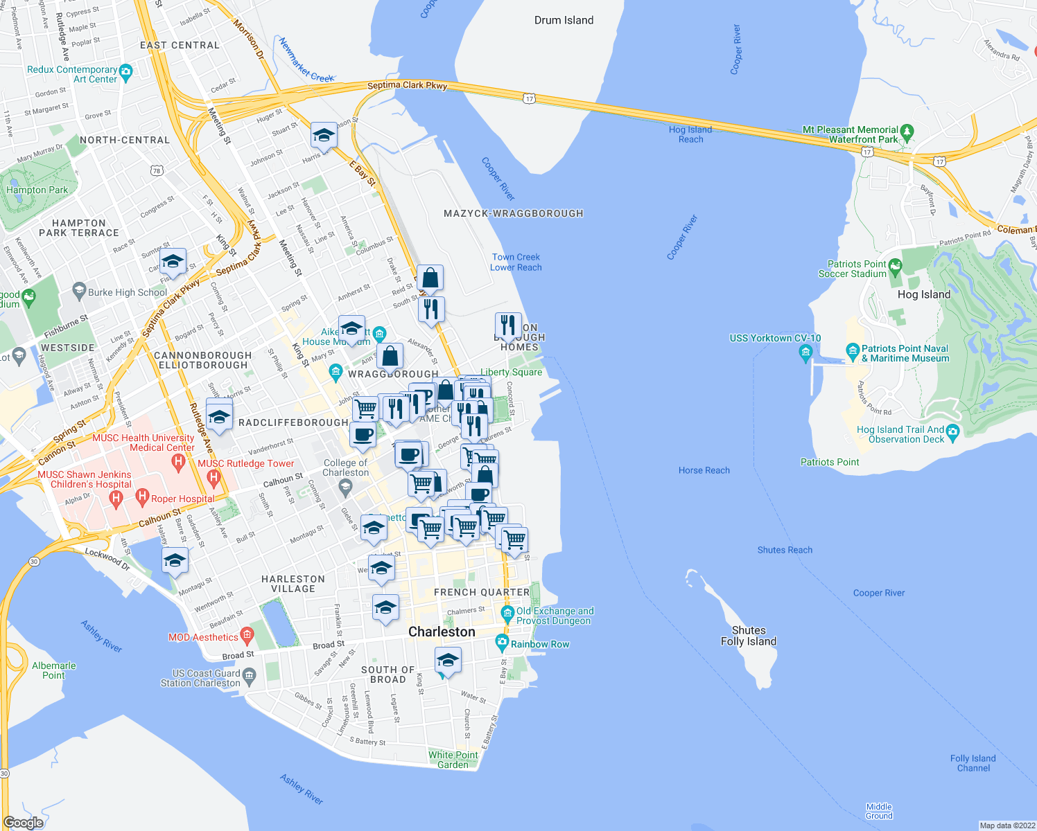 map of restaurants, bars, coffee shops, grocery stores, and more near 2 Laurens Street in Charleston