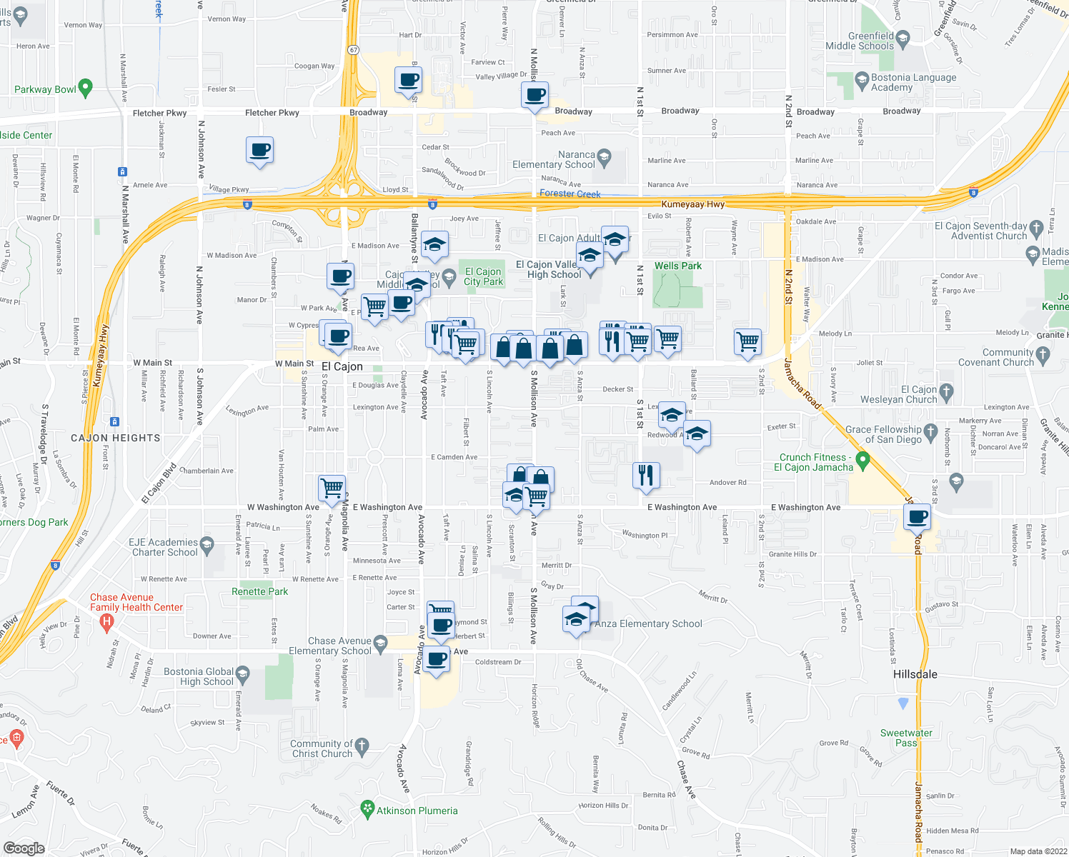 map of restaurants, bars, coffee shops, grocery stores, and more near 421 South Mollison Avenue in El Cajon