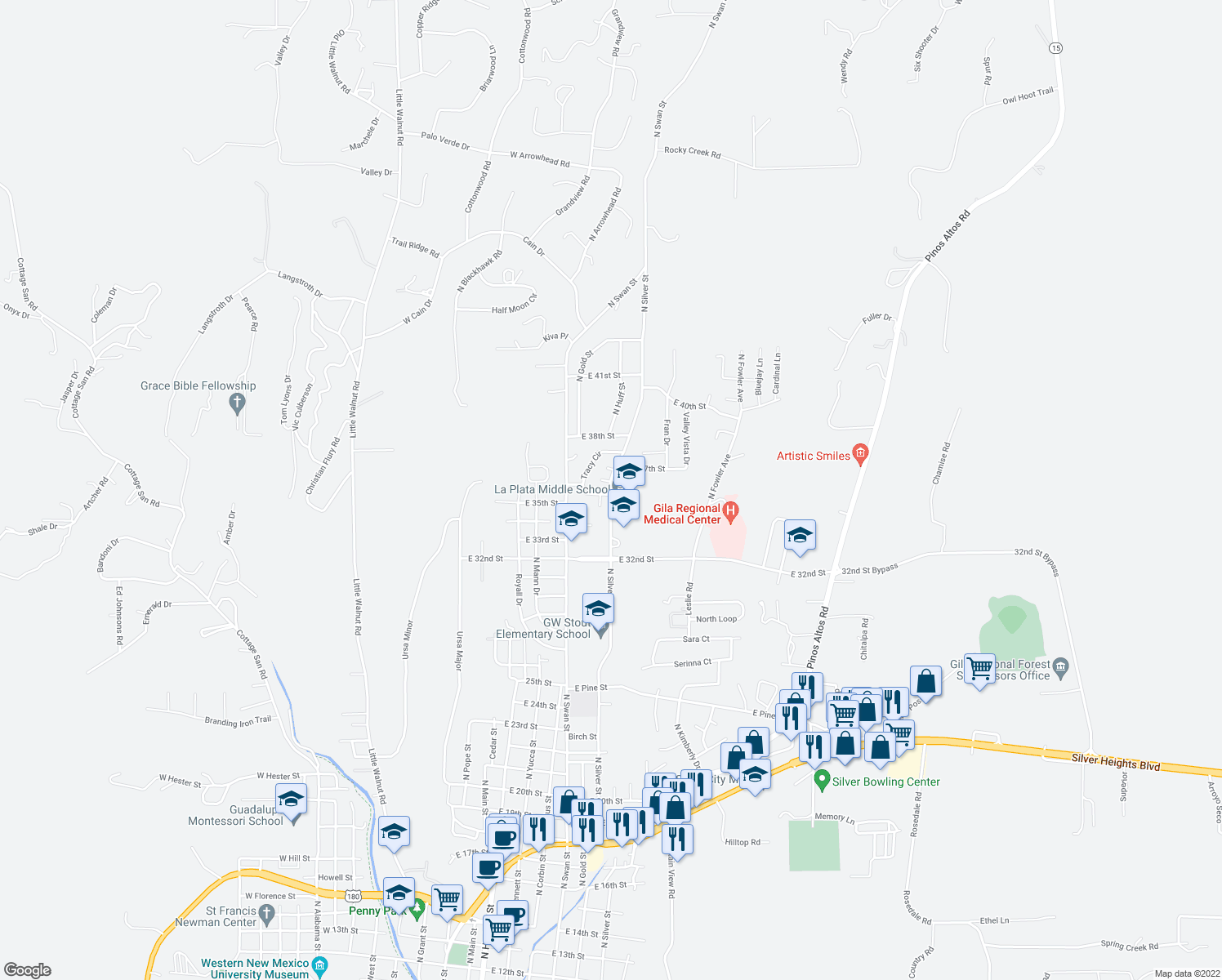 map of restaurants, bars, coffee shops, grocery stores, and more near 3610-3672 North Silver Street in Silver City