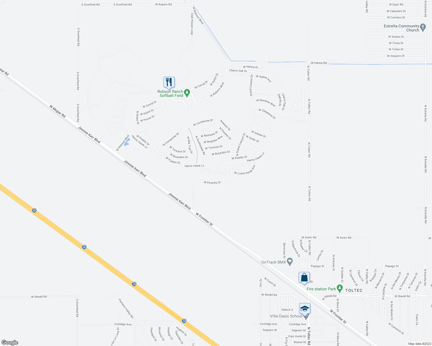 map of restaurants, bars, coffee shops, grocery stores, and more near Loma Verde Avenue in Eloy