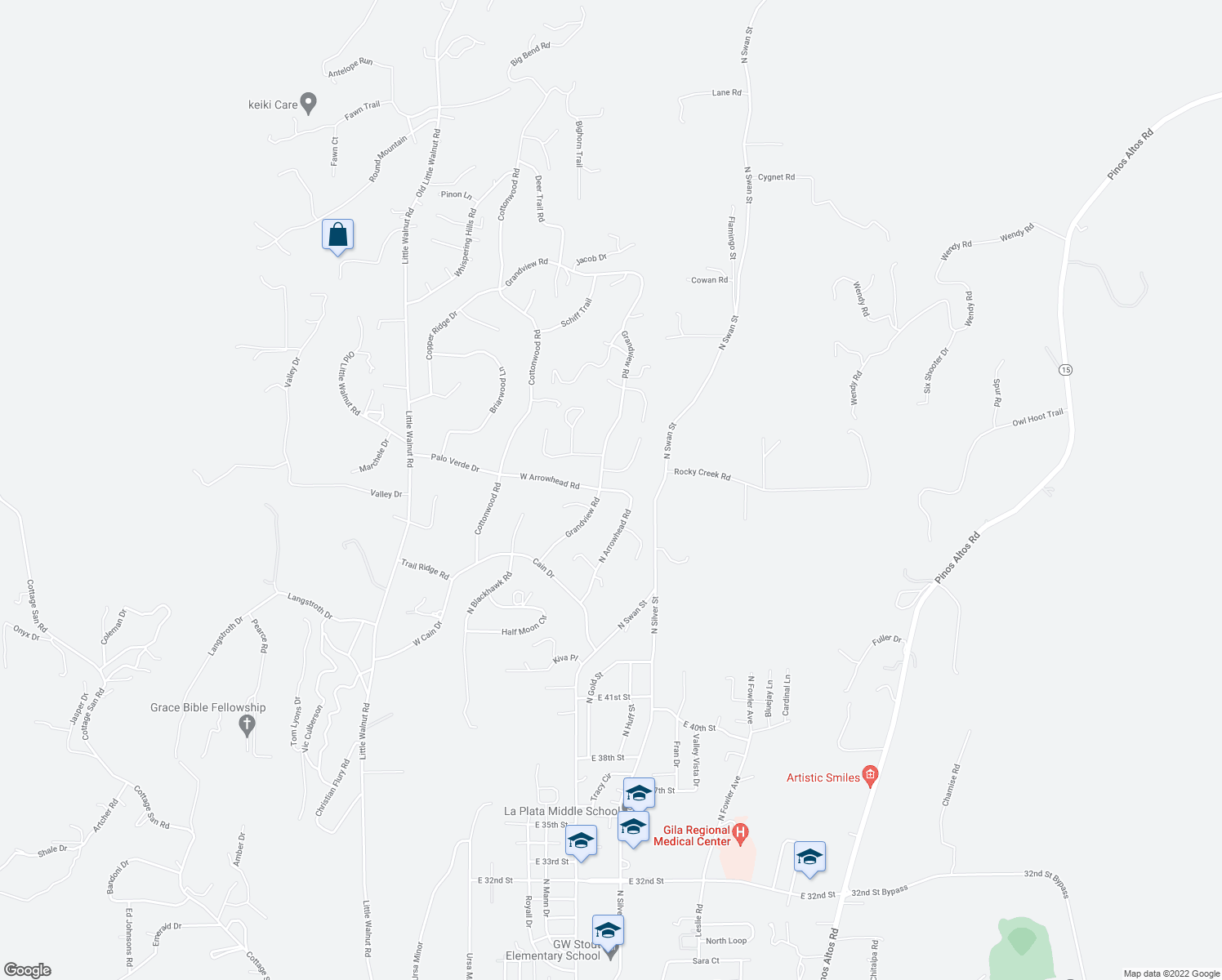 map of restaurants, bars, coffee shops, grocery stores, and more near 4450 North Arrowhead Road in Silver City