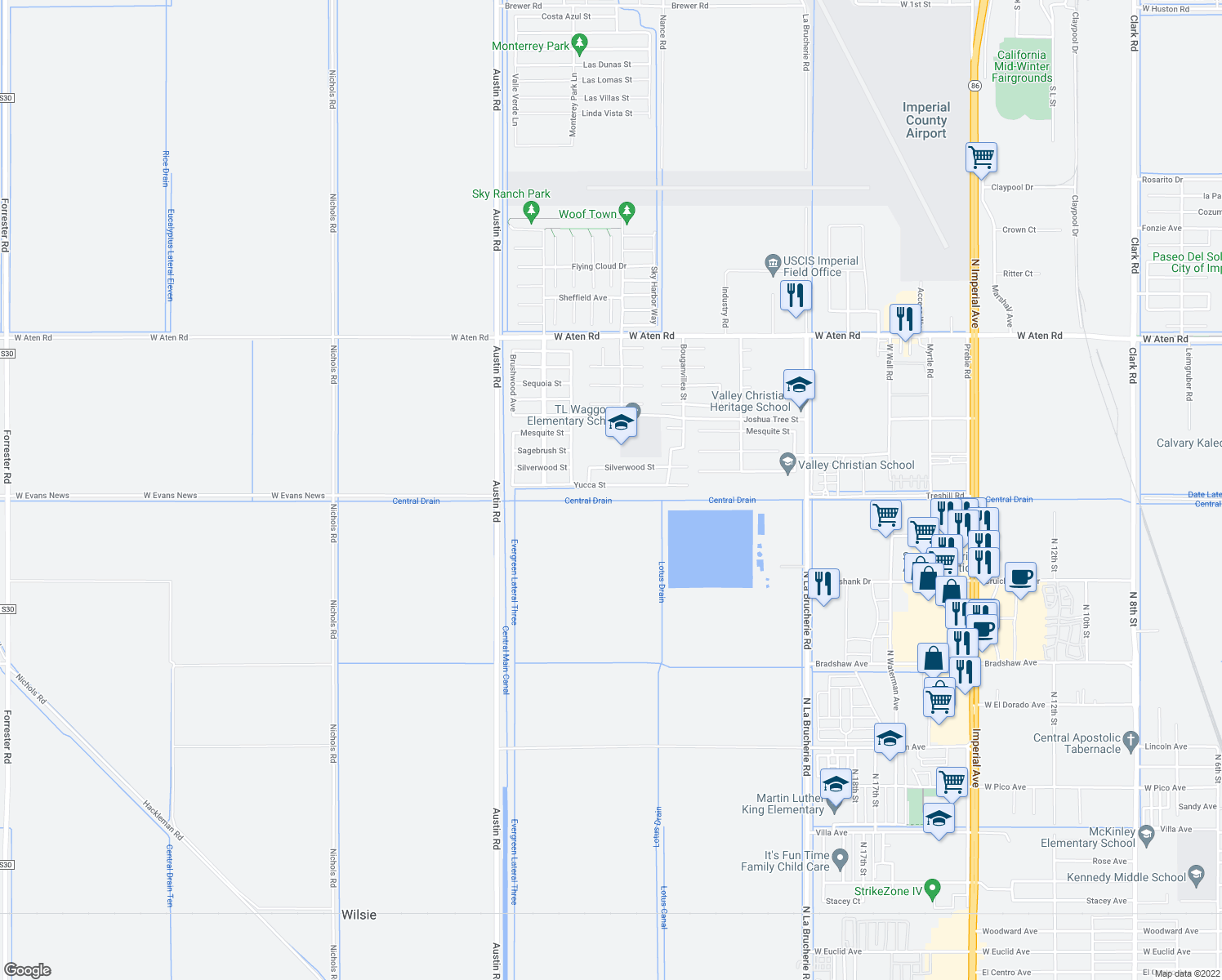 map of restaurants, bars, coffee shops, grocery stores, and more near 628 Yucca Street in Imperial