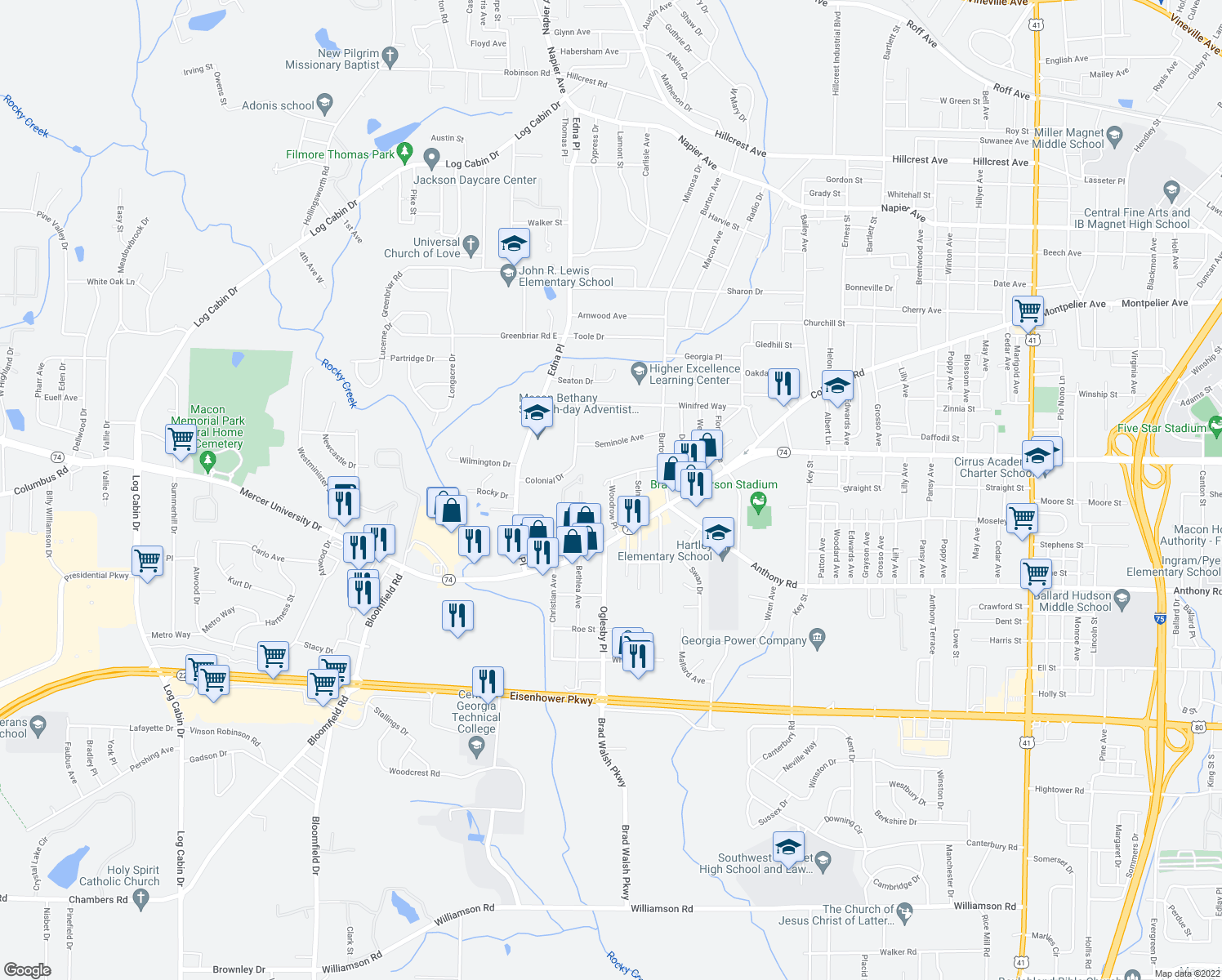 map of restaurants, bars, coffee shops, grocery stores, and more near 1611 Woodrow Place in Macon