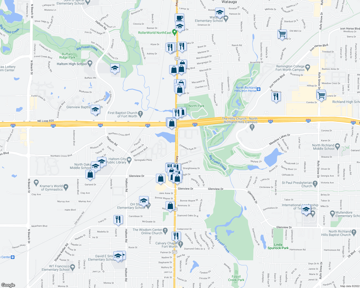 map of restaurants, bars, coffee shops, grocery stores, and more near 2-76 Golf Side Apartment in Haltom City