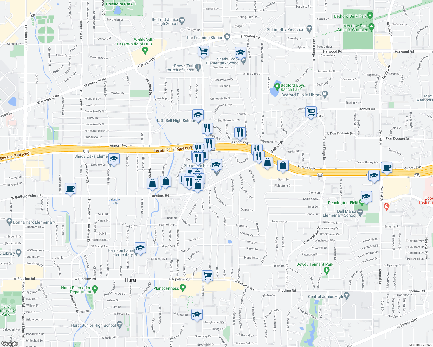 map of restaurants, bars, coffee shops, grocery stores, and more near 900 Bedford Road in Bedford