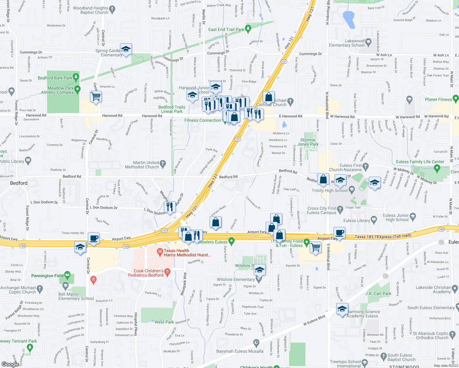 map of restaurants, bars, coffee shops, grocery stores, and more near 3000 Bedford Road in Bedford