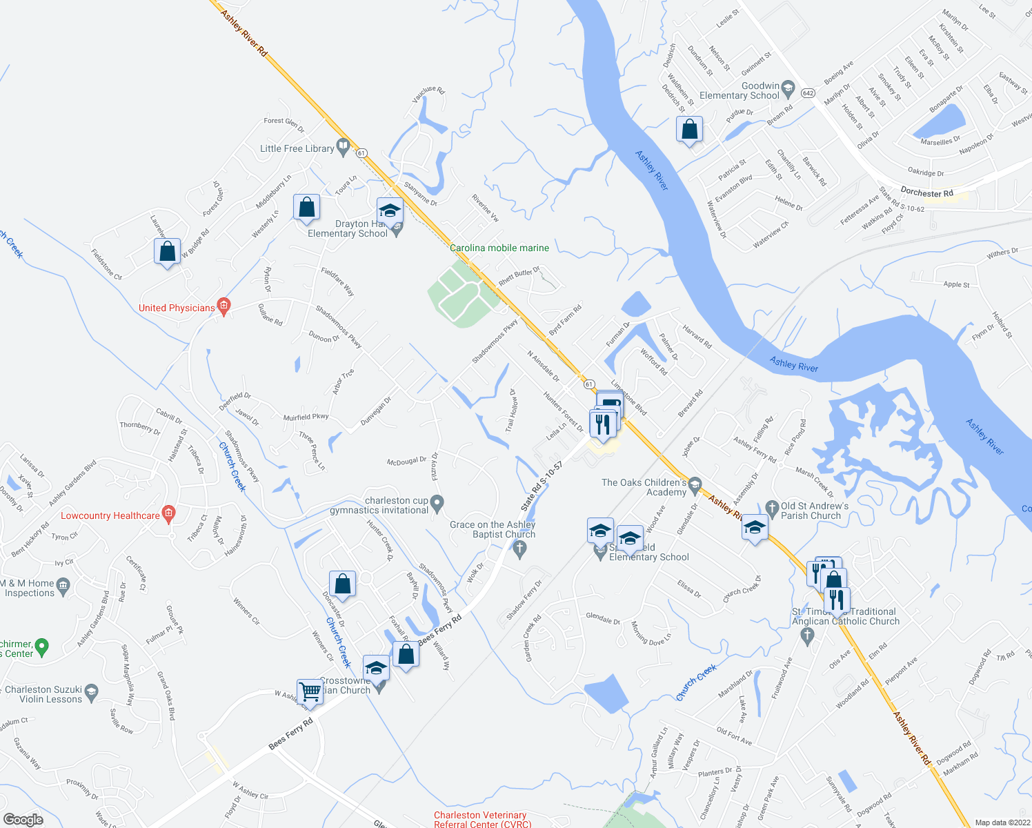 map of restaurants, bars, coffee shops, grocery stores, and more near 17 Trail Hollow Drive in Charleston