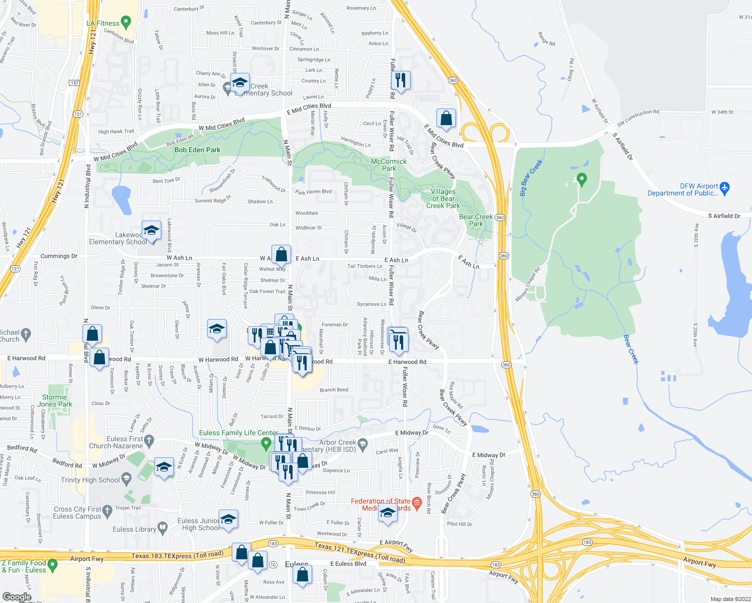 map of restaurants, bars, coffee shops, grocery stores, and more near 503-531 Sycamore Lane in Euless