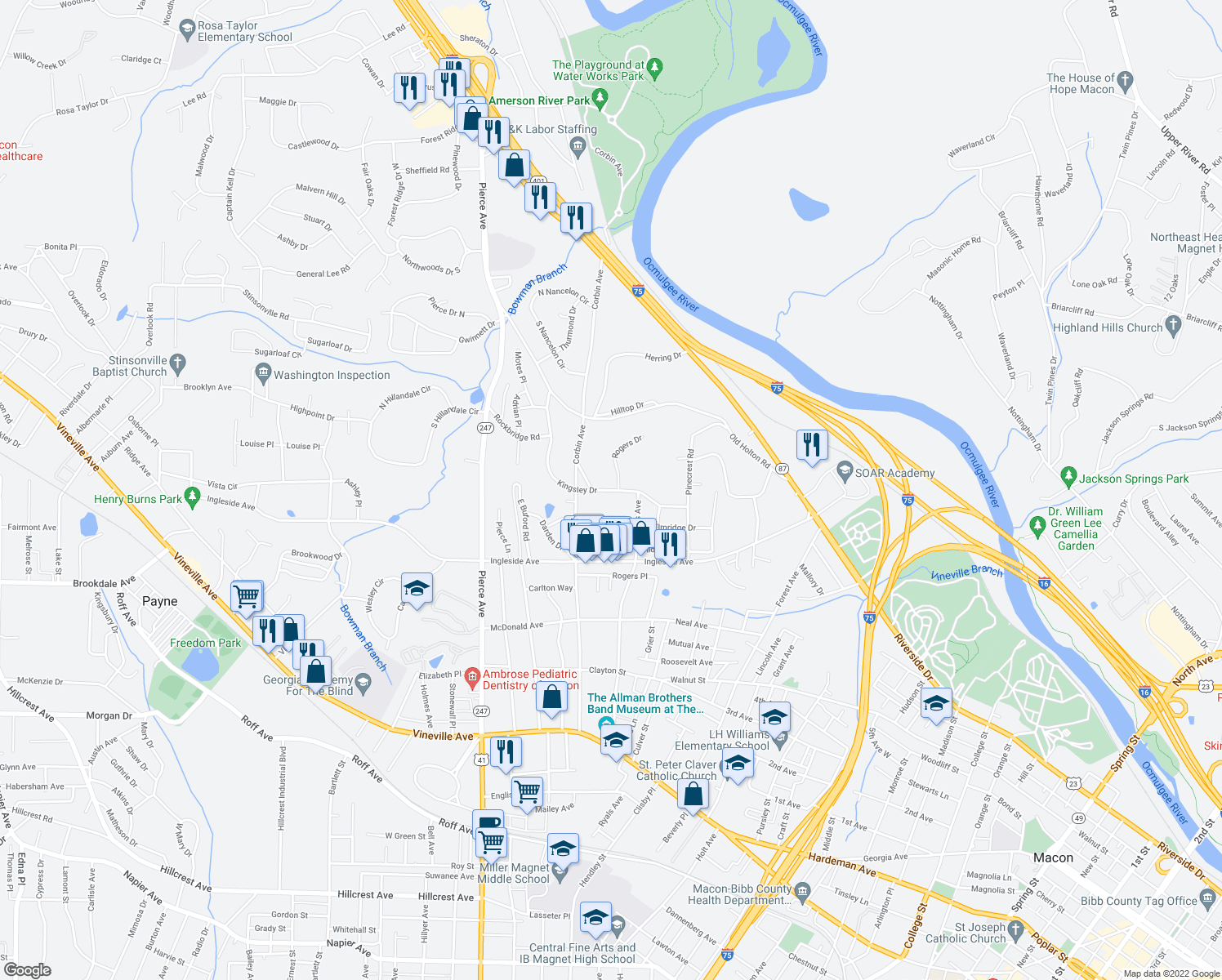 map of restaurants, bars, coffee shops, grocery stores, and more near Kingsley Drive in Macon
